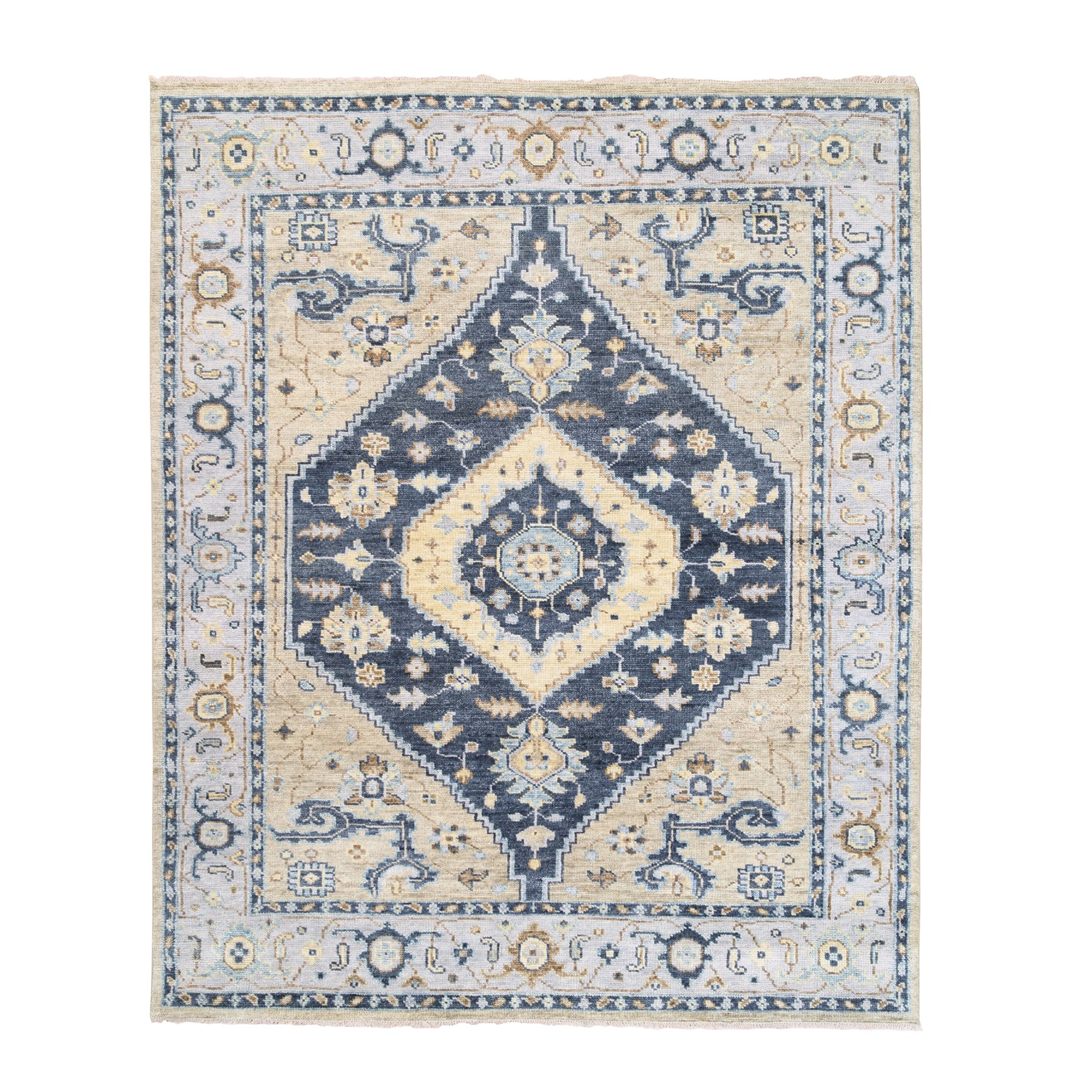 "8'2""x10' Navy Blue Supple Collection Bakshaish Design Soft Wool Oriental Hand Knotted Rug"