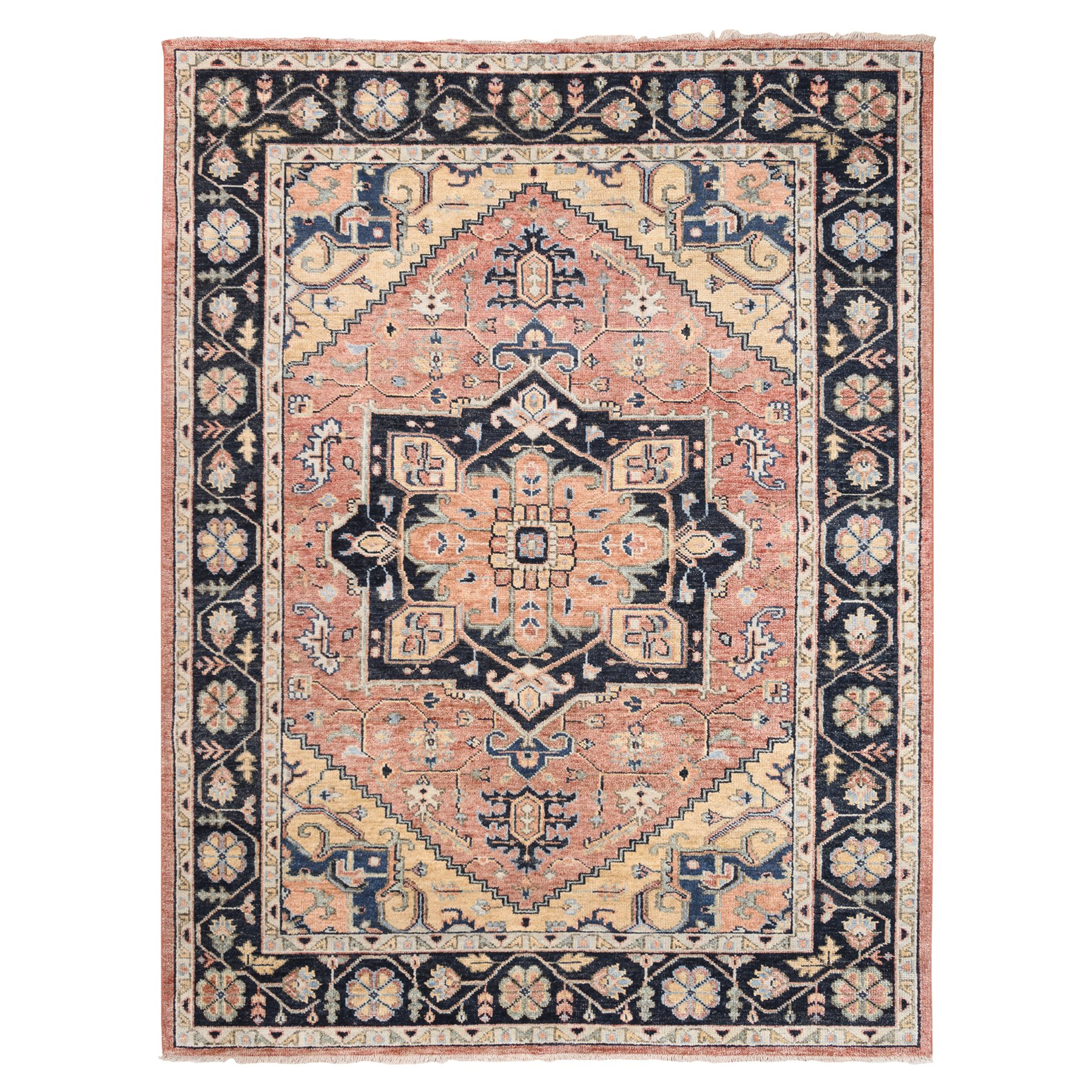"9'x11'10"" Coral Supple Collection Heriz Design Hand Knotted Organic Wool Oriental Rug"