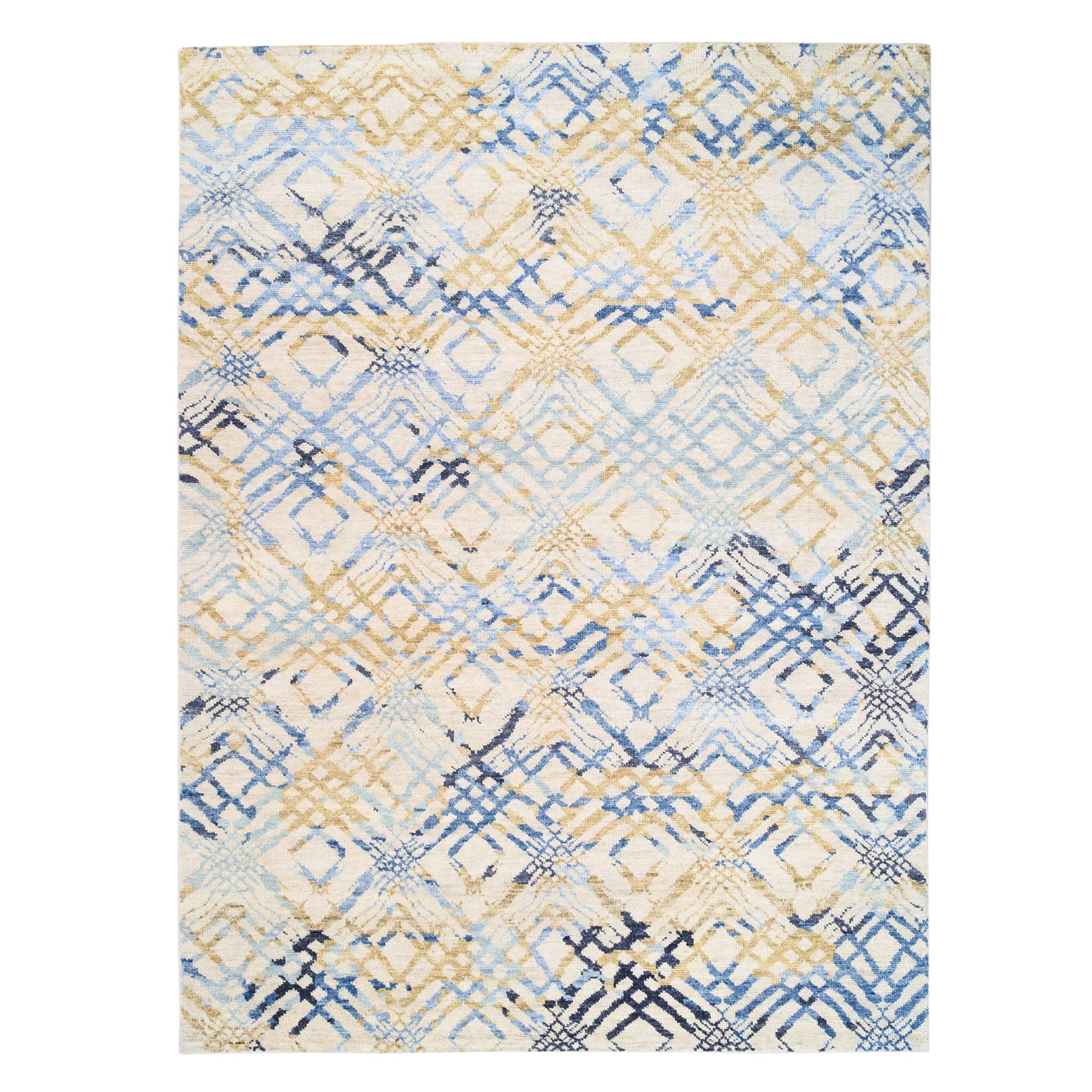 9'x12' Yellow and Ivory Supple Collection Modern Oceanic Square Design Pure Wool Hand Knotted Oriental Rug