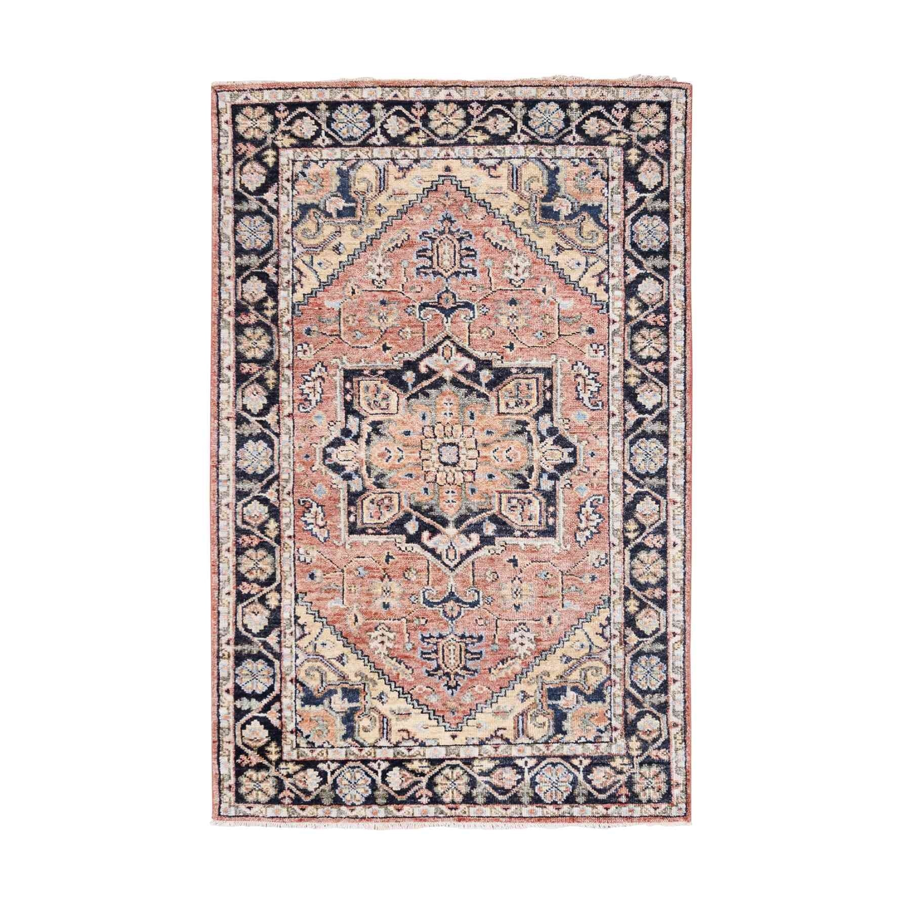 "5'10""x9'1"" Coral Heriz Design Supple Collection Hand Knotted Natural Wool Oriental Rug"