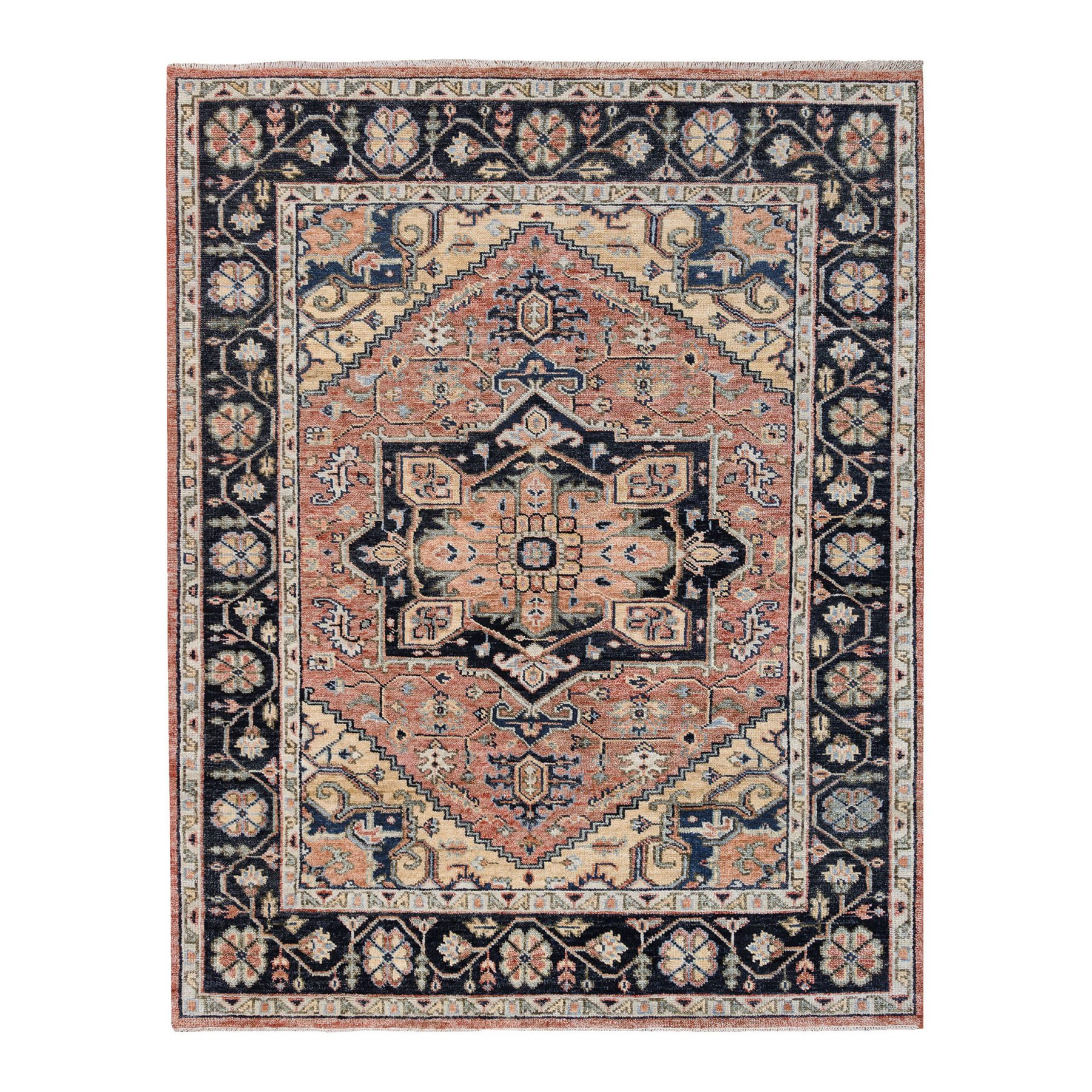 "8'x10'1"" Supple Collection Heriz Design Coral Hand Knotted Organic Wool Oriental Rug"