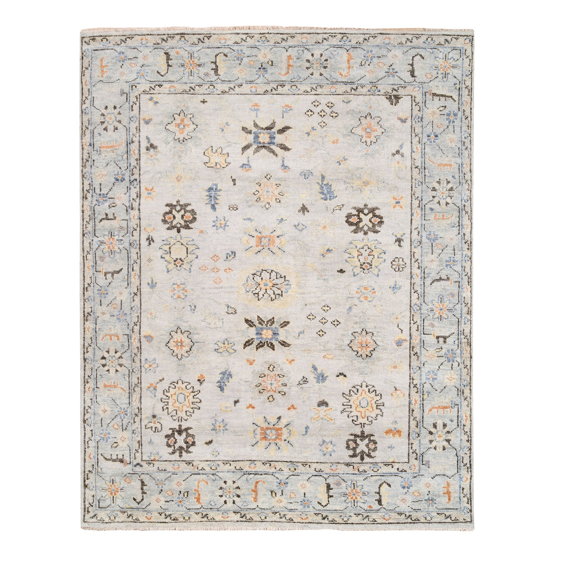 "7'10""x9'10"" Ivory Supple Collection Natural Wool Oushak Design Hand Knotted Oriental Rug"