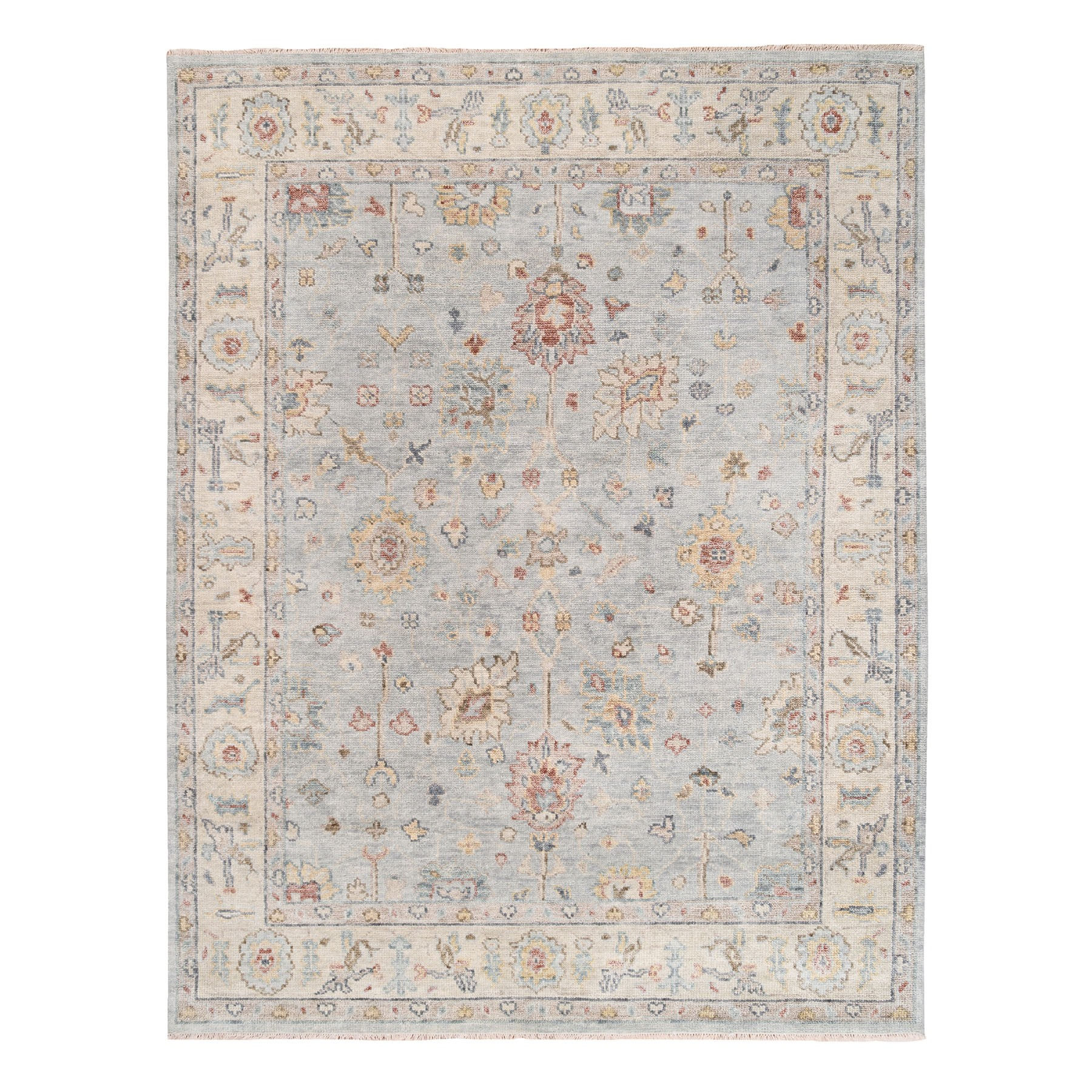 8'x10' Silver Gray Natural Wool Supple Collection Oushak Design Hand Knotted Oriental Rug