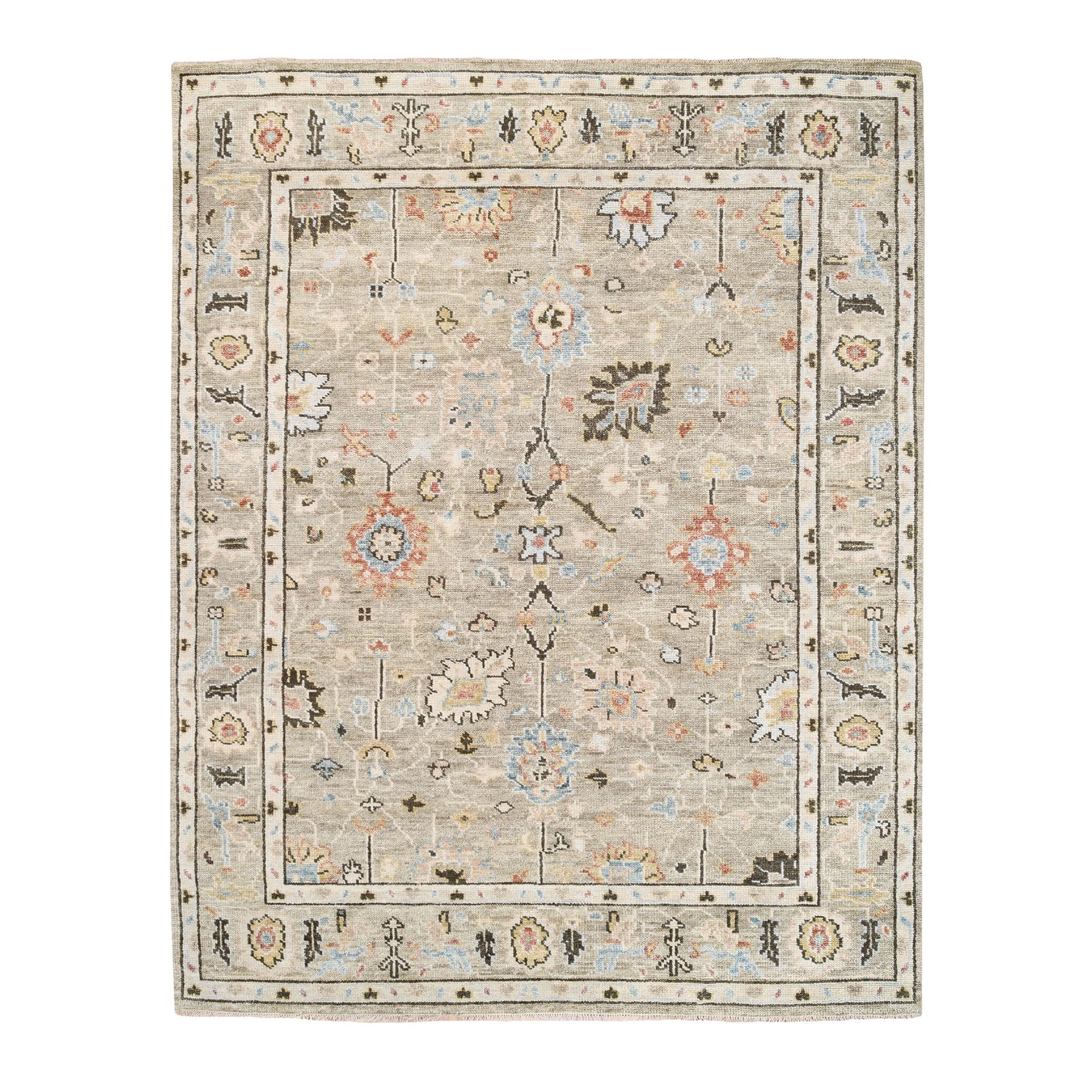 "7'10""x10'2"" Sage Green Supple Collection Oushak Design with Flower Motifs 100% Wool Hand Knotted Oriental Rug"