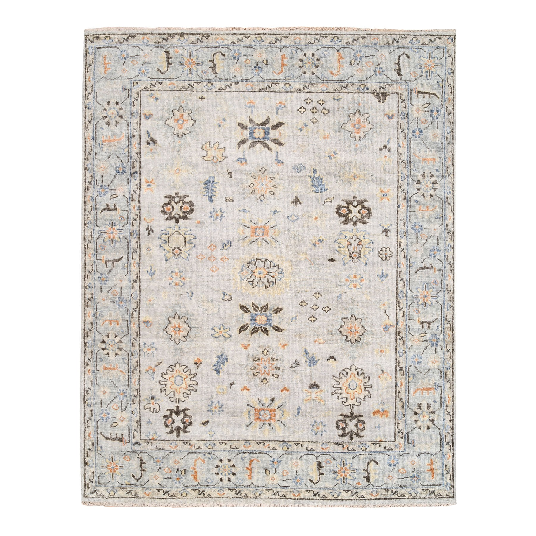 "7'10""x10' Supple Collection Organic Wool Ivory Oushak Design Hand Knotted Oriental Rug"