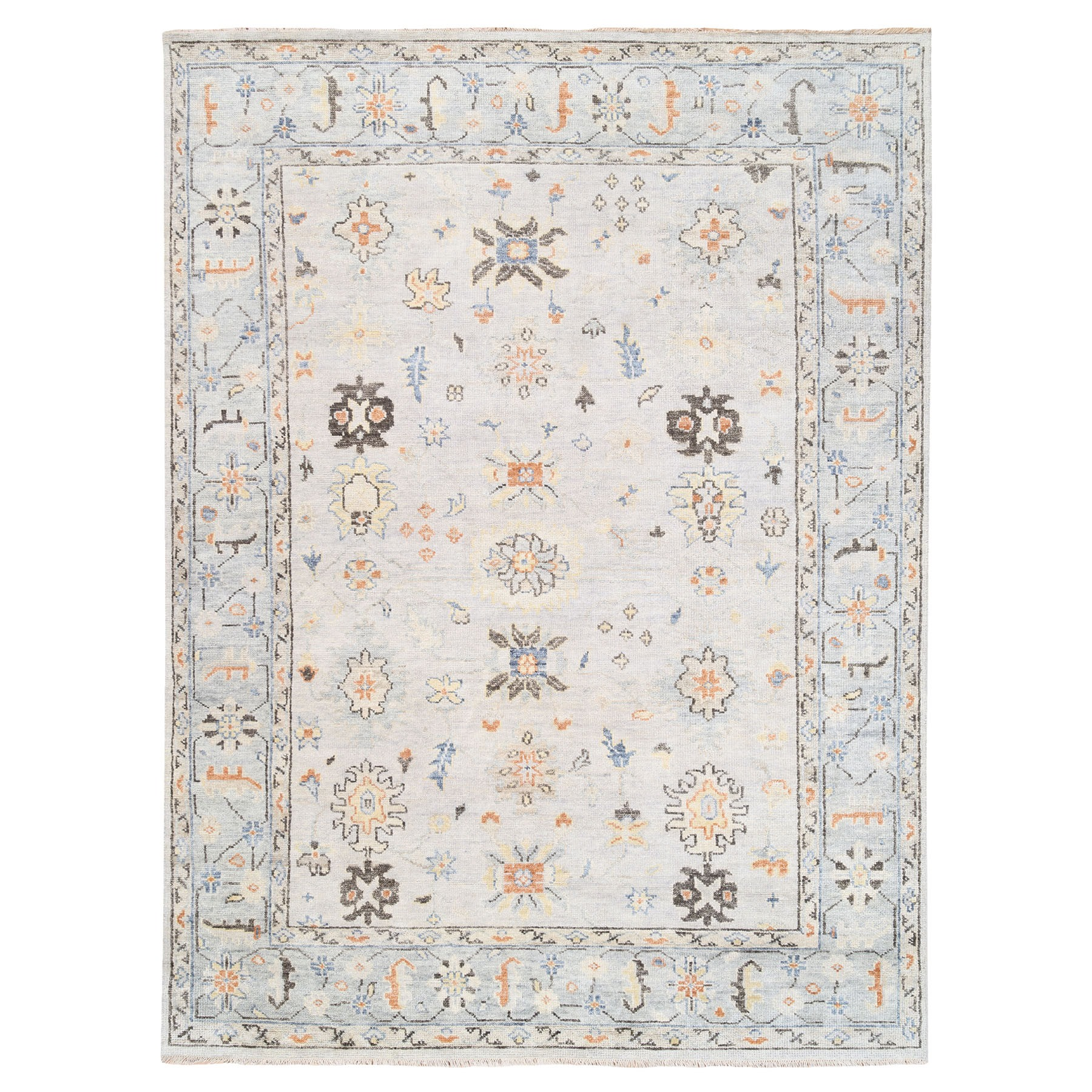 "9'1""x12' Ivory Supple Collection Natural Wool Oushak Design Hand Knotted Oriental Rug"