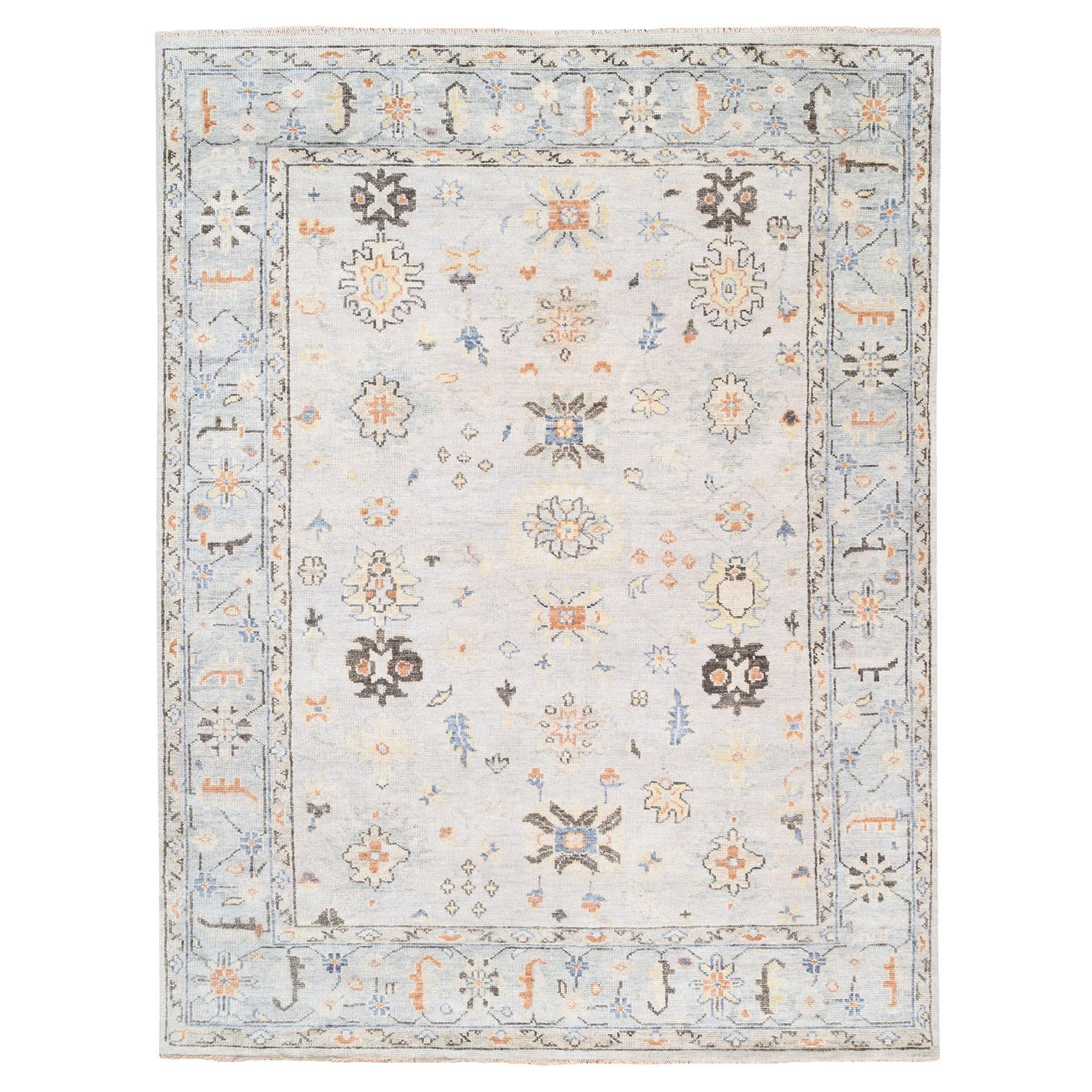 "9'3""x12' Supple Collection Organic Wool Ivory Oushak Design Hand Knotted Oriental Rug"