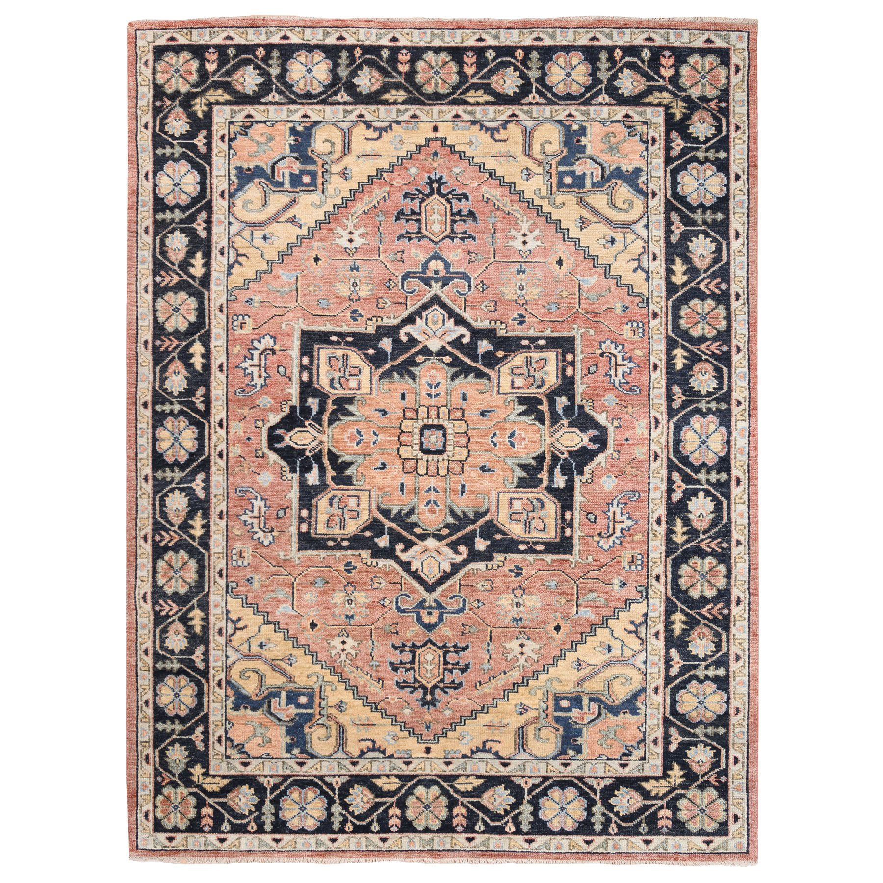 9'x12' Coral Supple Collection Heriz Design Hand Knotted Organic Wool Oriental Rug