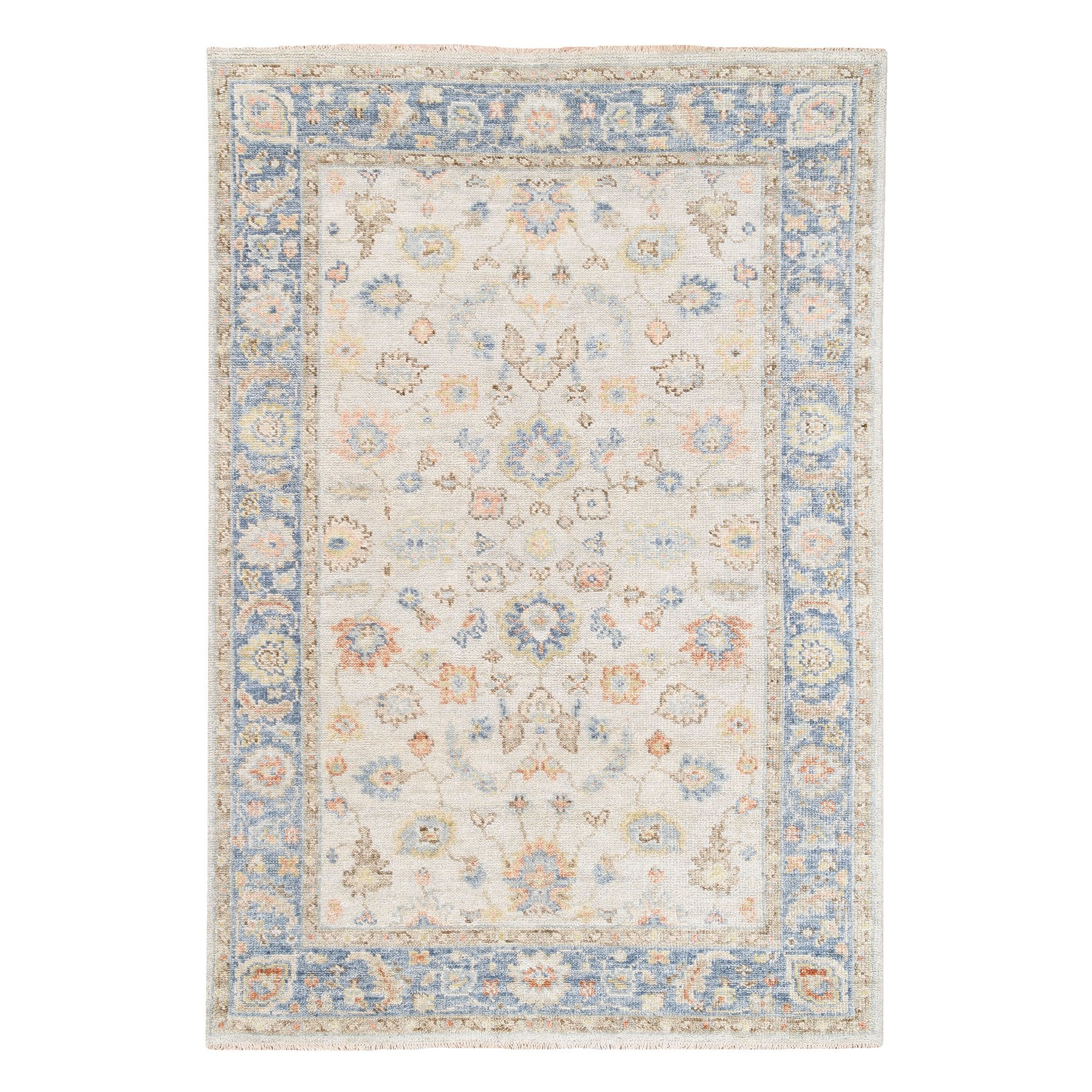 "6'x8'10"" Ivory-Blue Supple Collection Oushak Design Organic Wool Hand Knotted Oriental Rug"