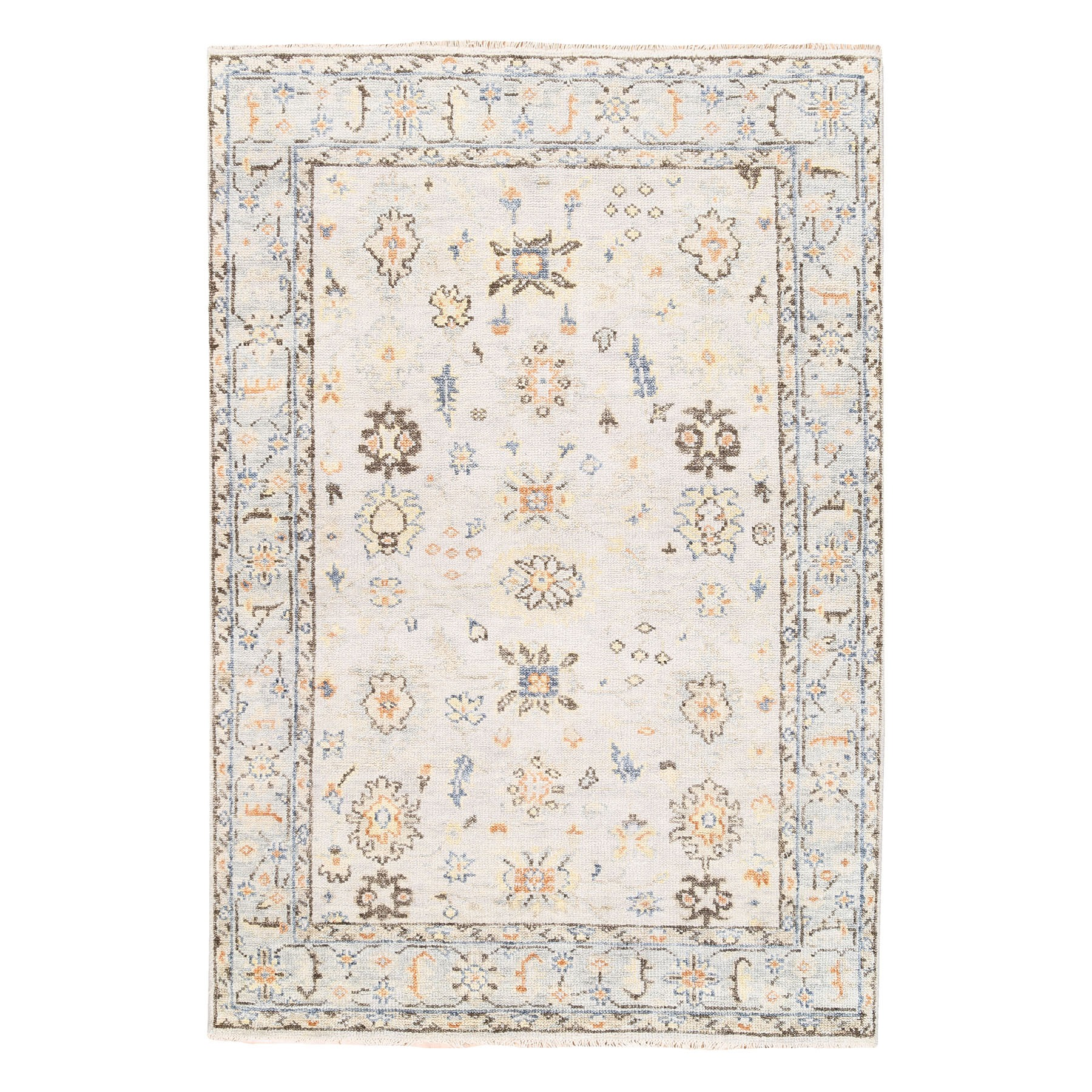 6'x9' Ivory Natural Wool Supple Collection Oushak Design Hand Knotted Oriental Rug