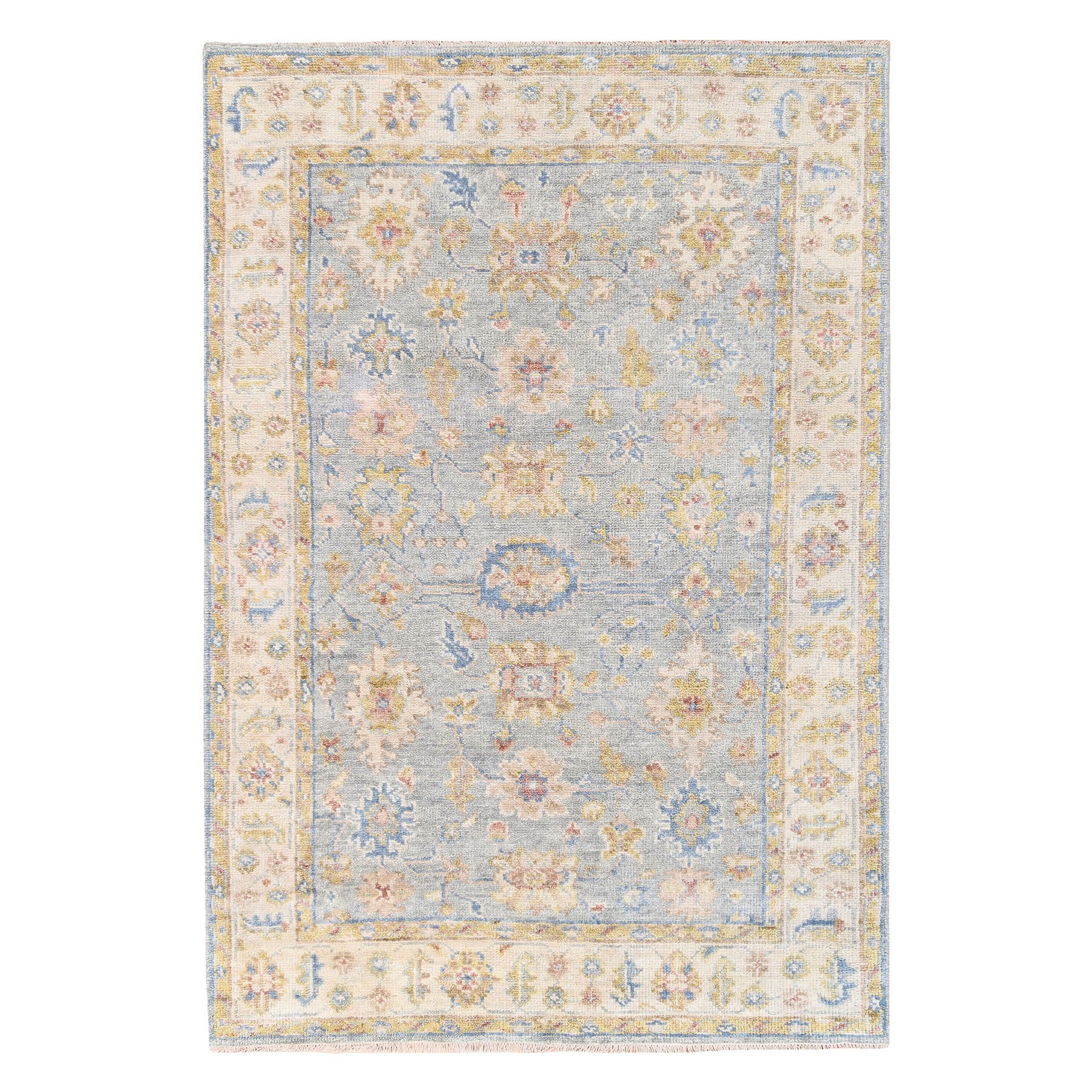 "6'x8'9"" Gray Natural Wool Supple Collection Oushak Design Hand Knotted Oriental Rug"