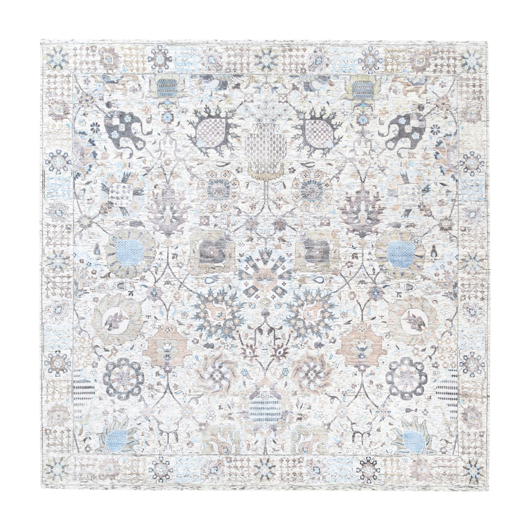 Transitional Hand Knotted Ivory Rug No: 1124562