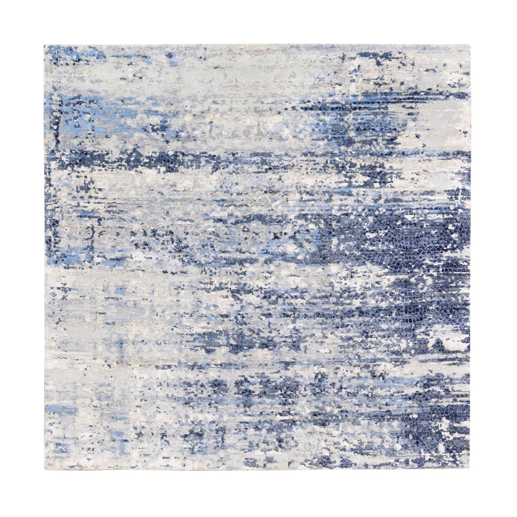 Mid Century Modern Collection Hand Knotted Blue Rug No: 1124706