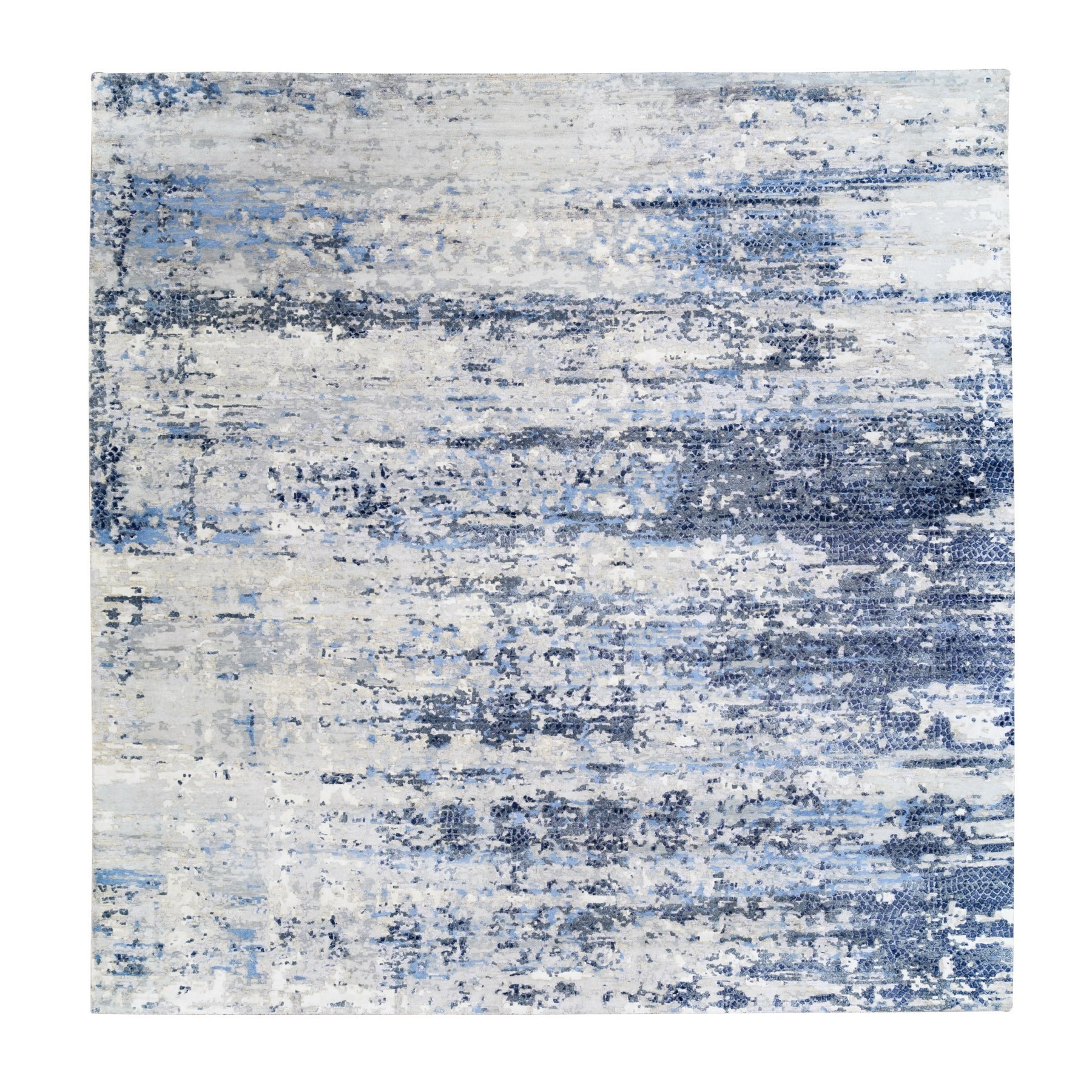 Mid Century Modern Collection Hand Knotted Blue Rug No: 1124714