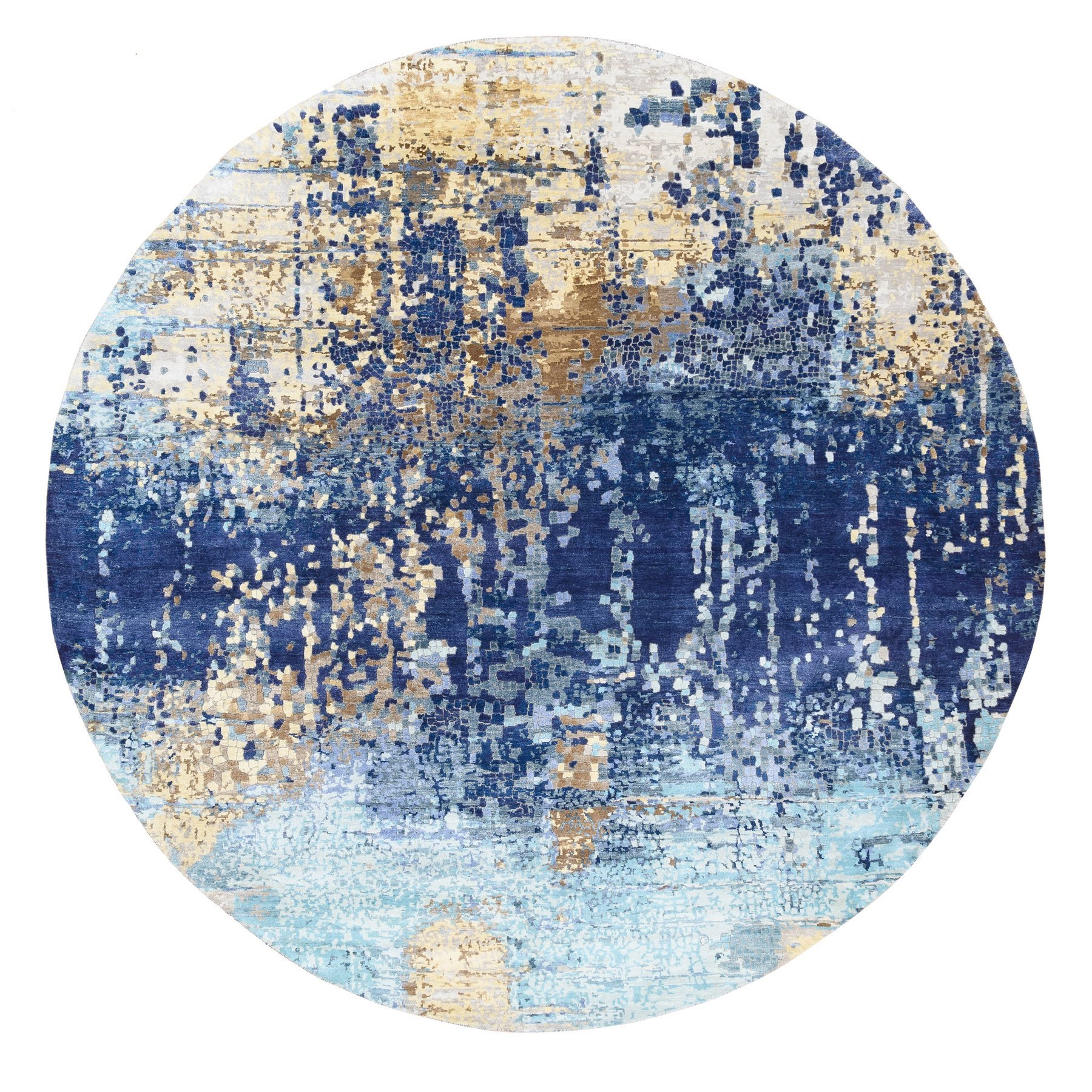 Mid Century Modern Collection Hand Knotted Blue Rug No: 1125324