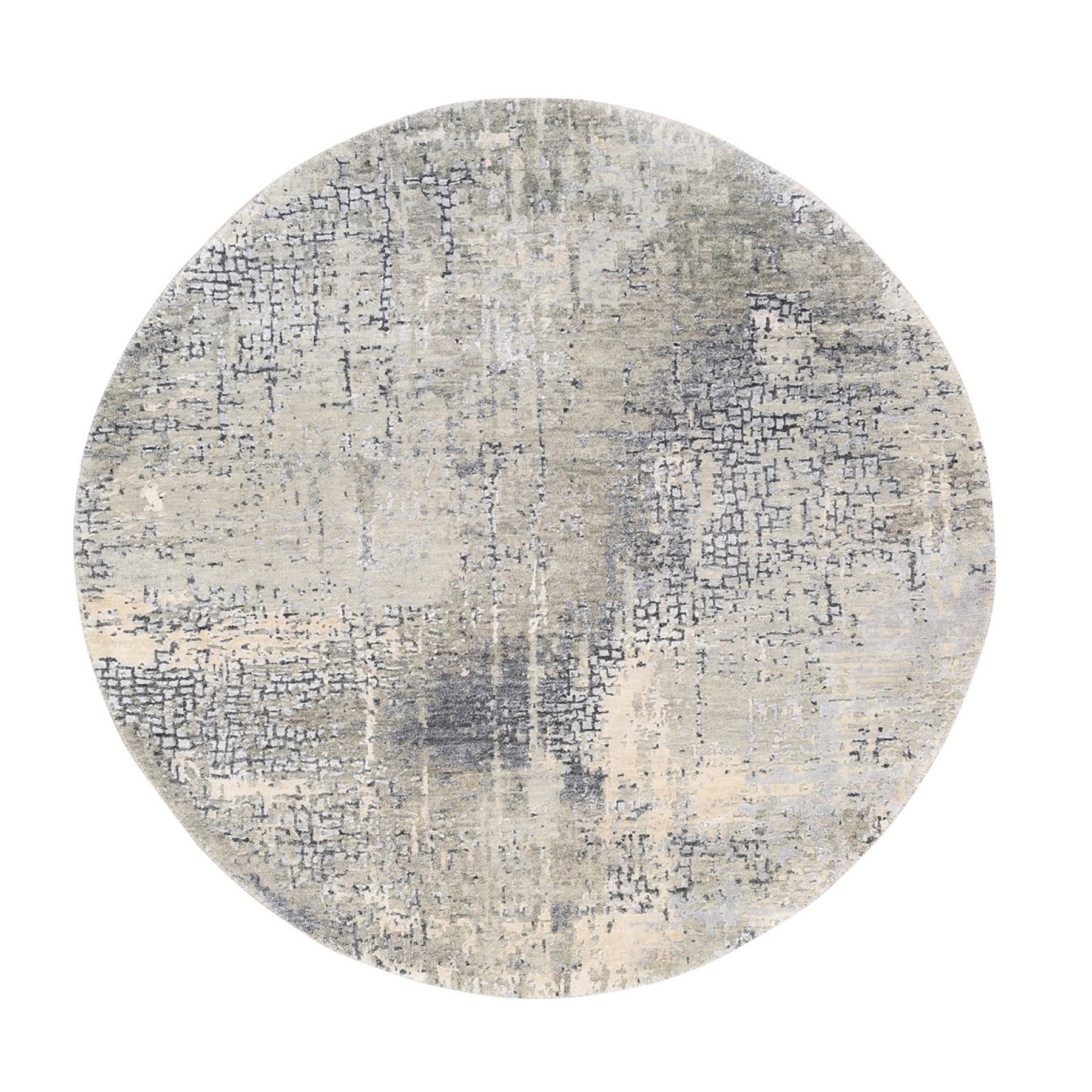 Mid Century Modern Collection Hand Knotted Grey Rug No: 1125366