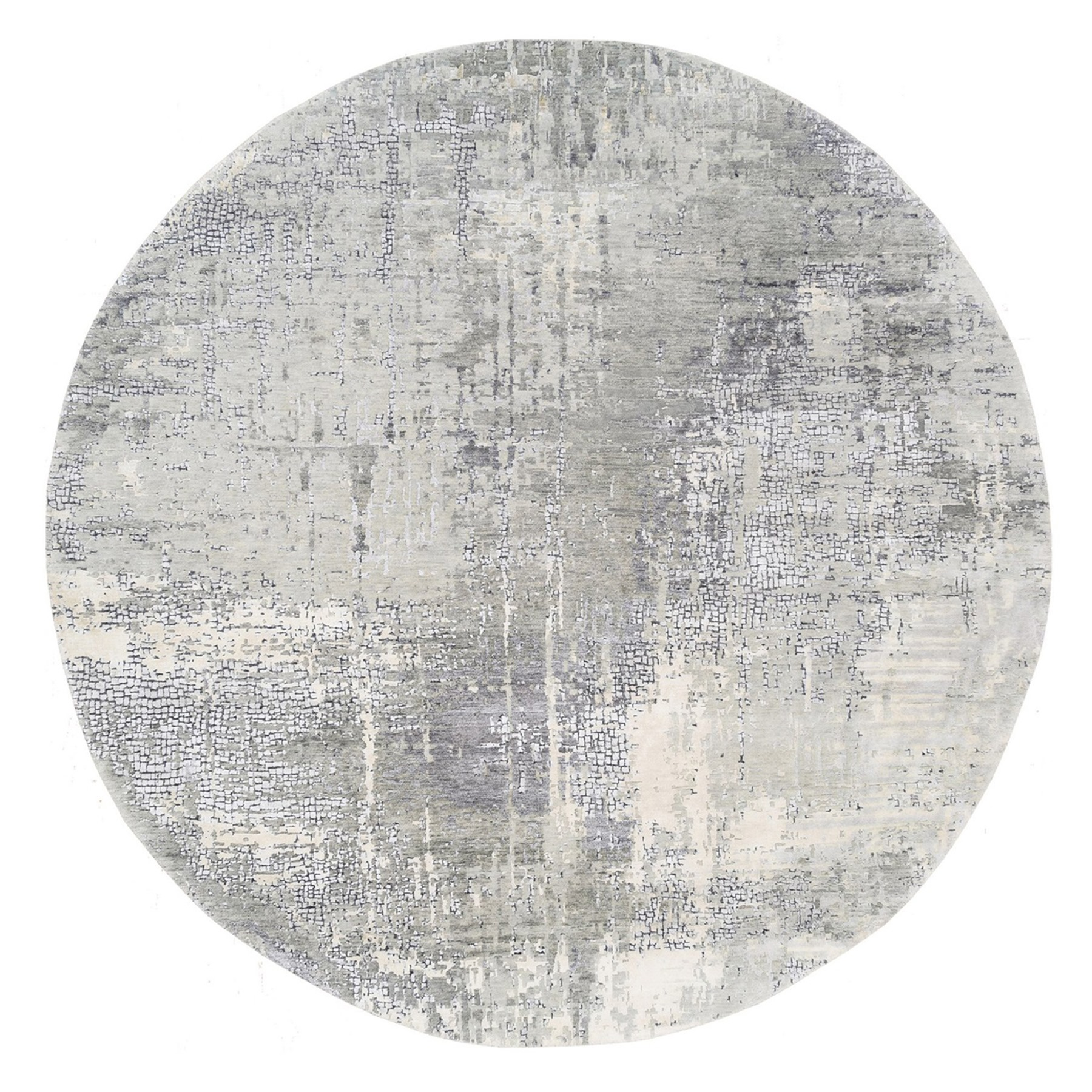 Mid Century Modern Collection Hand Knotted Grey Rug No: 1125384