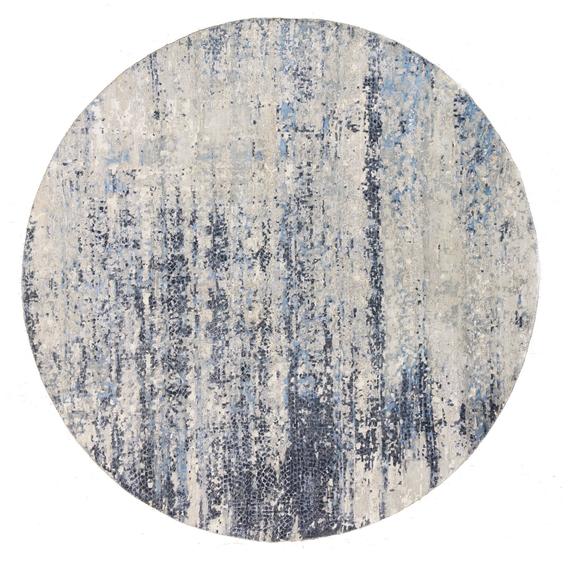 Mid Century Modern Collection Hand Knotted Blue Rug No: 1125742