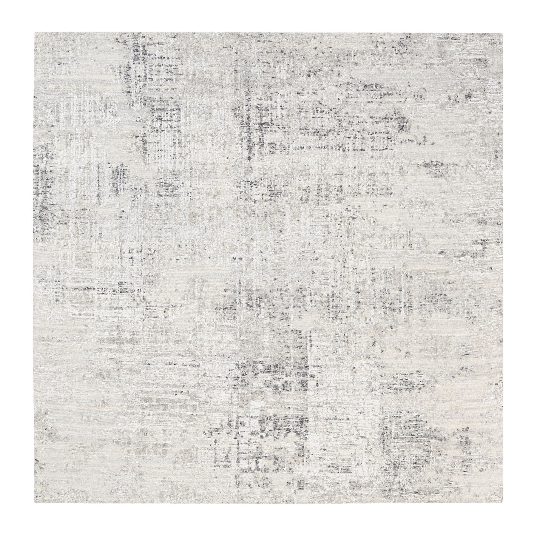 Mid Century Modern Collection Hand Knotted Grey Rug No: 1125792