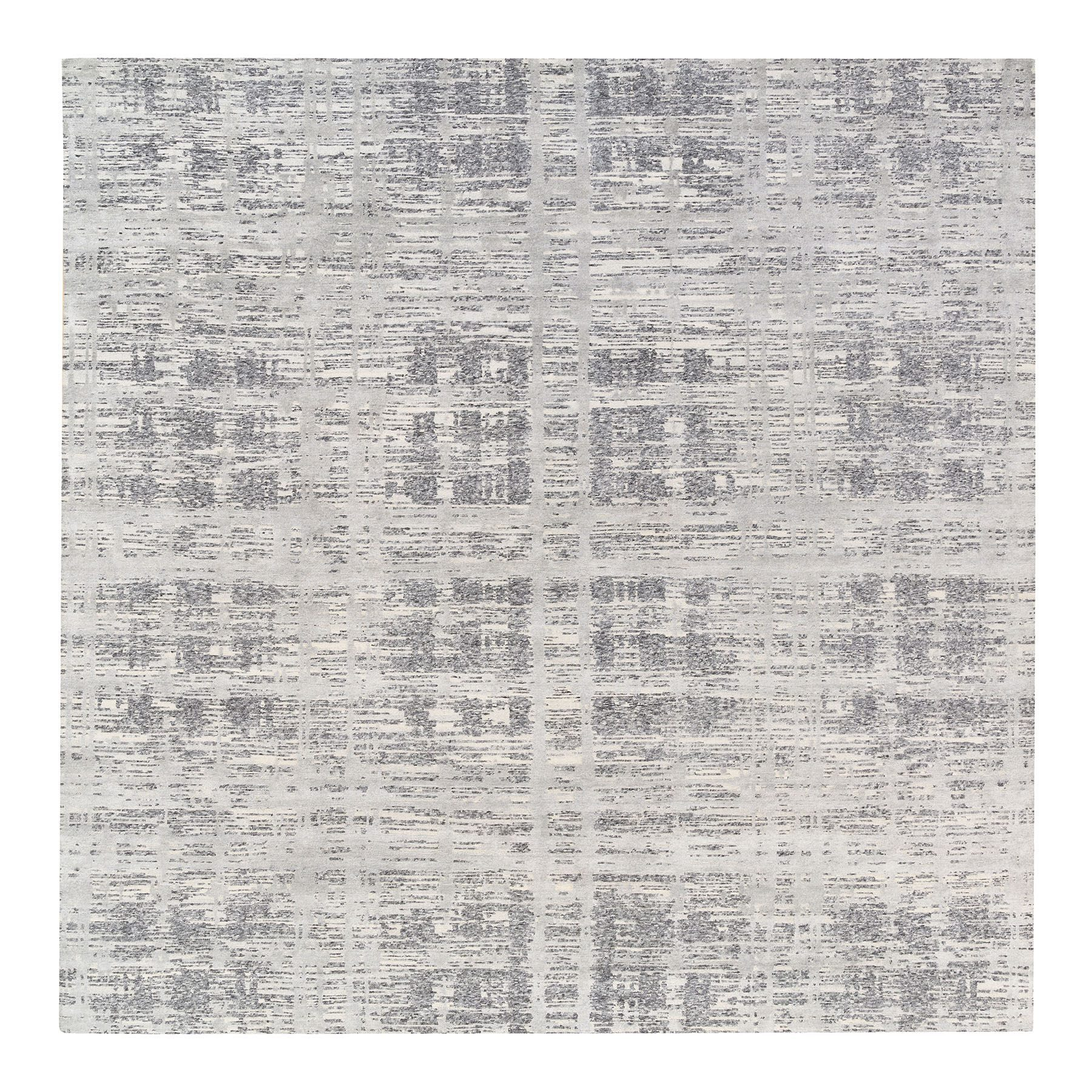 Mid Century Modern Collection Hand Knotted Grey Rug No: 1125858