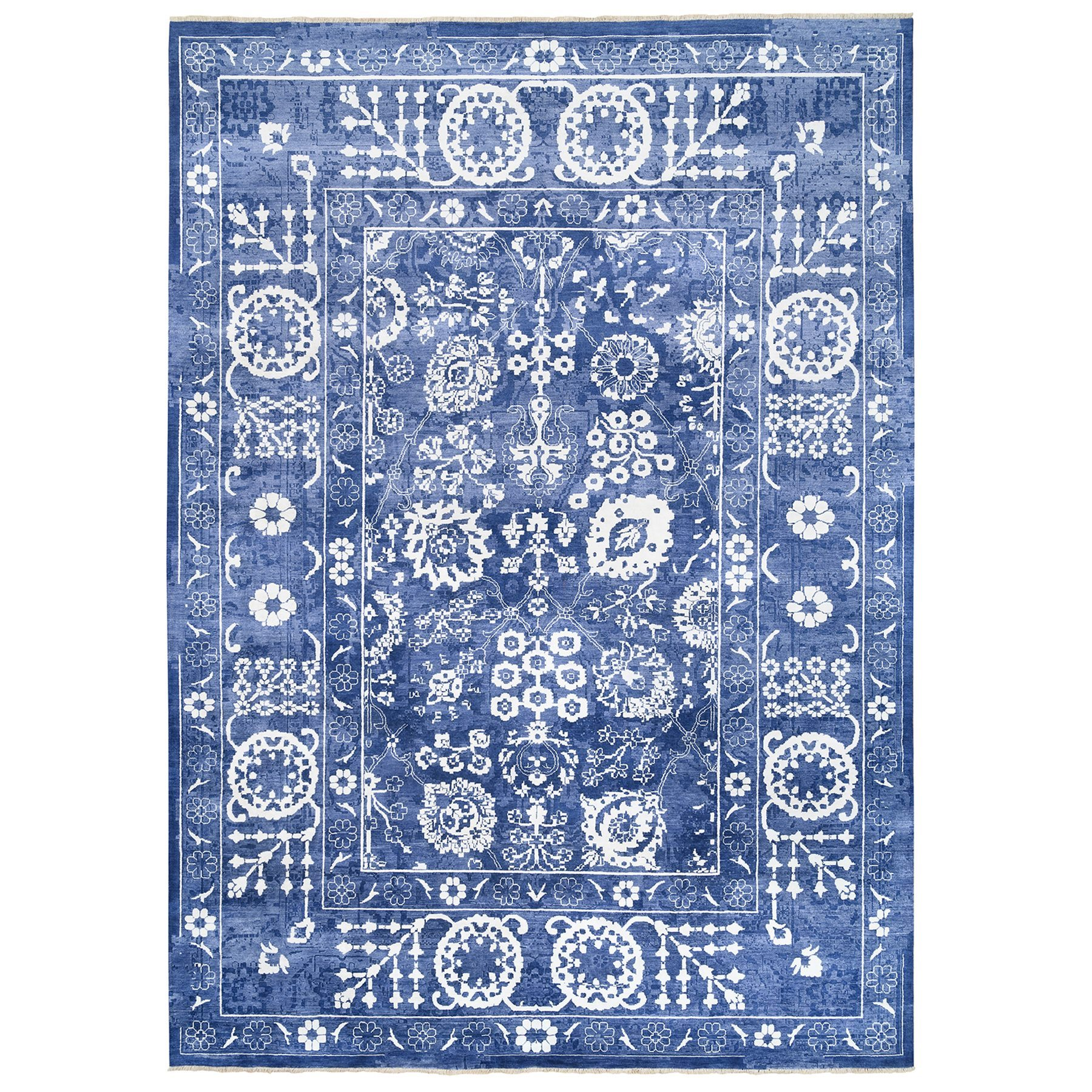 Transitional Hand Knotted Blue Rug No: 1125916