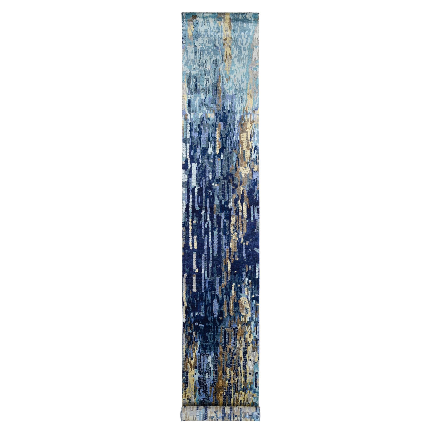 Mid Century Modern Collection Hand Knotted Blue Rug No: 1126114
