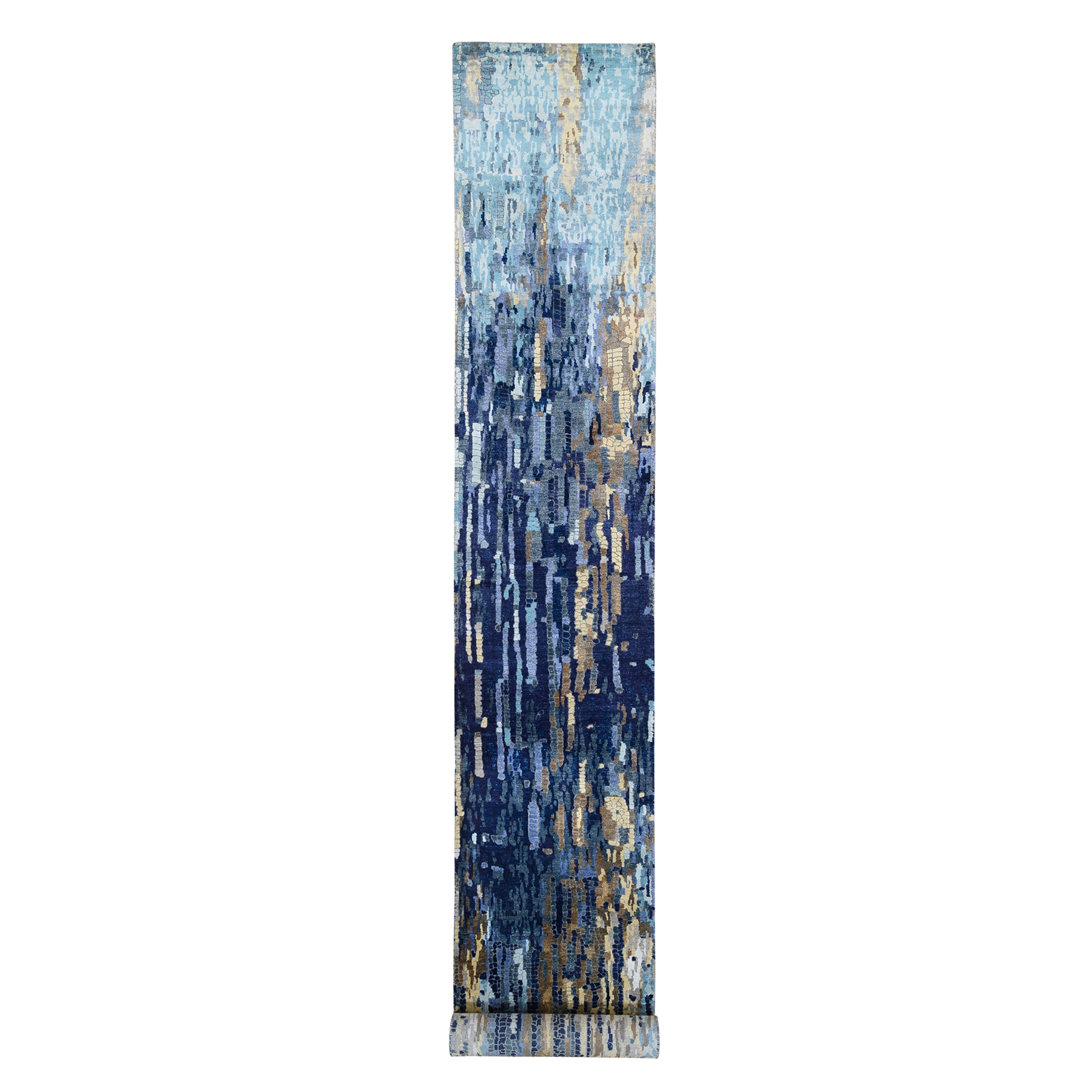 Mid Century Modern Collection Hand Knotted Blue Rug No: 1126116