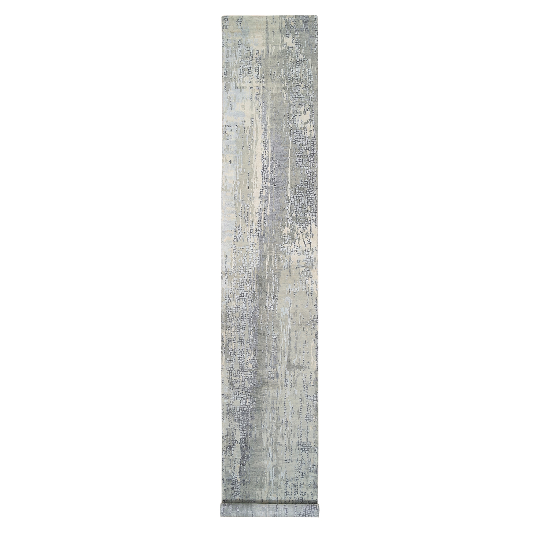 Mid Century Modern Collection Hand Knotted Grey Rug No: 1126126
