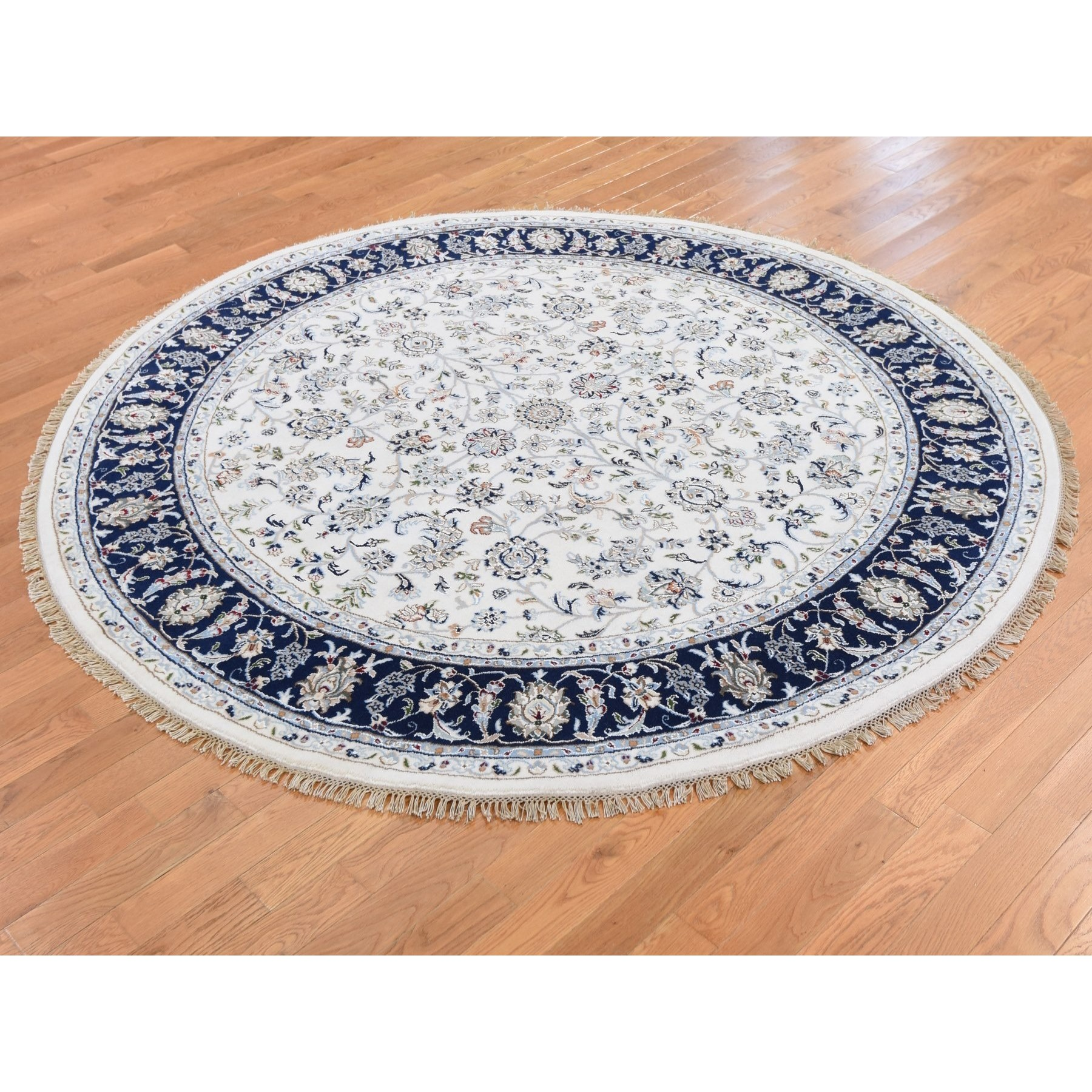 6'x6' Nain Wool and Silk 250 KPSI All Over Design Hand Knotted Ivory Round Oriental Rug