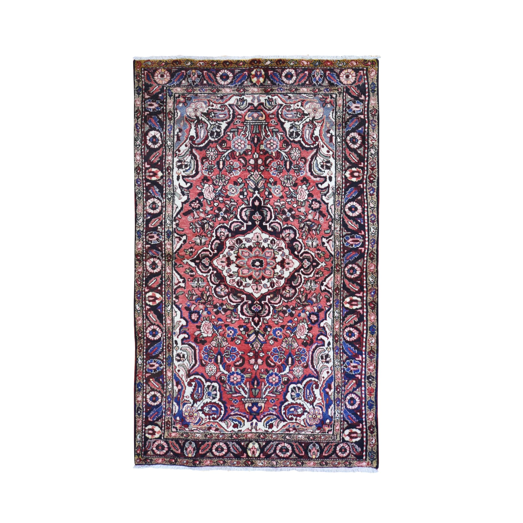 "4'9""x8' Red Old Persian Lilihan Flower Design Hand Knotted Organic Wool Oriental Rug"