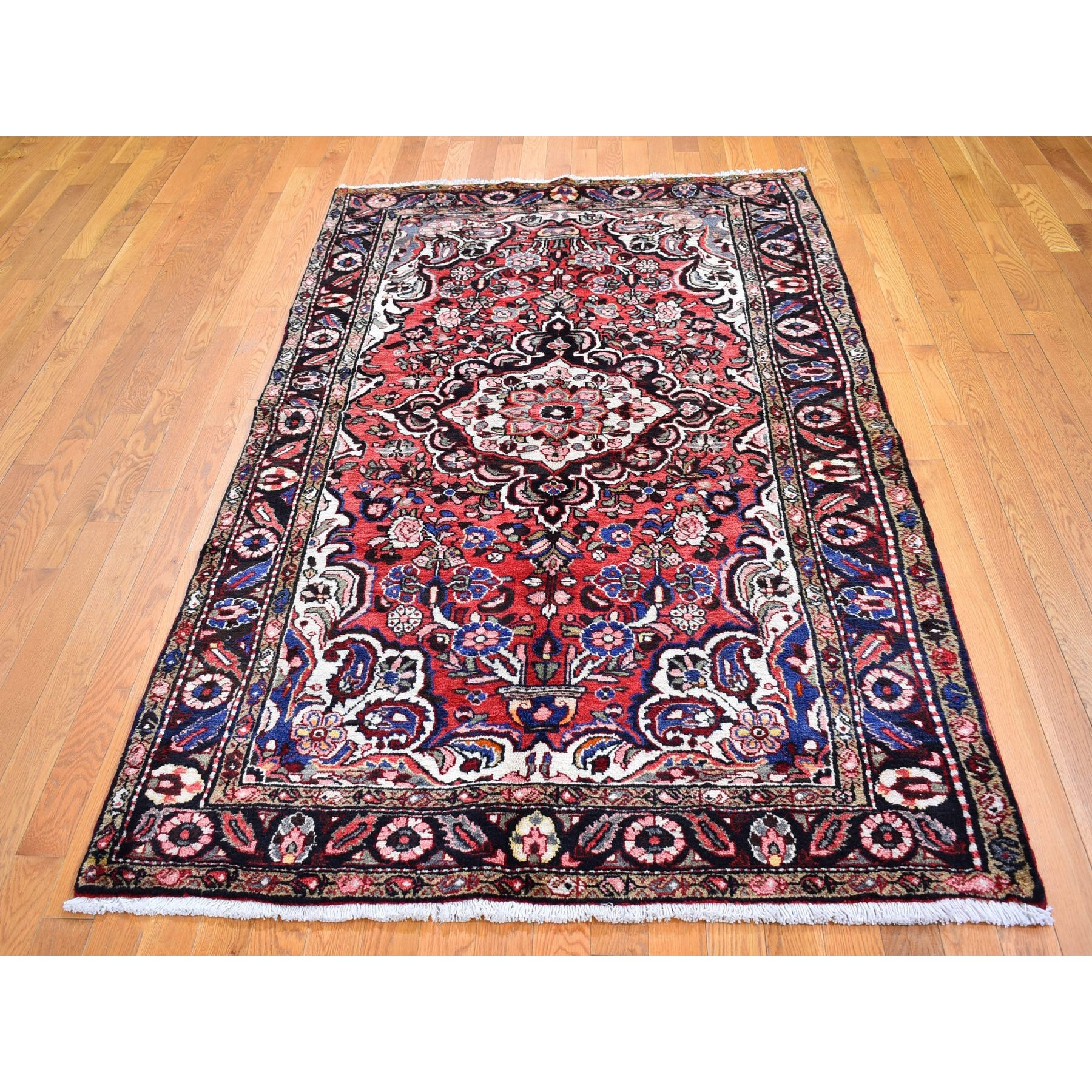 """4'9""""x8' Red Old Persian Lilihan Flower Design Hand Knotted Organic Wool Oriental Rug"""