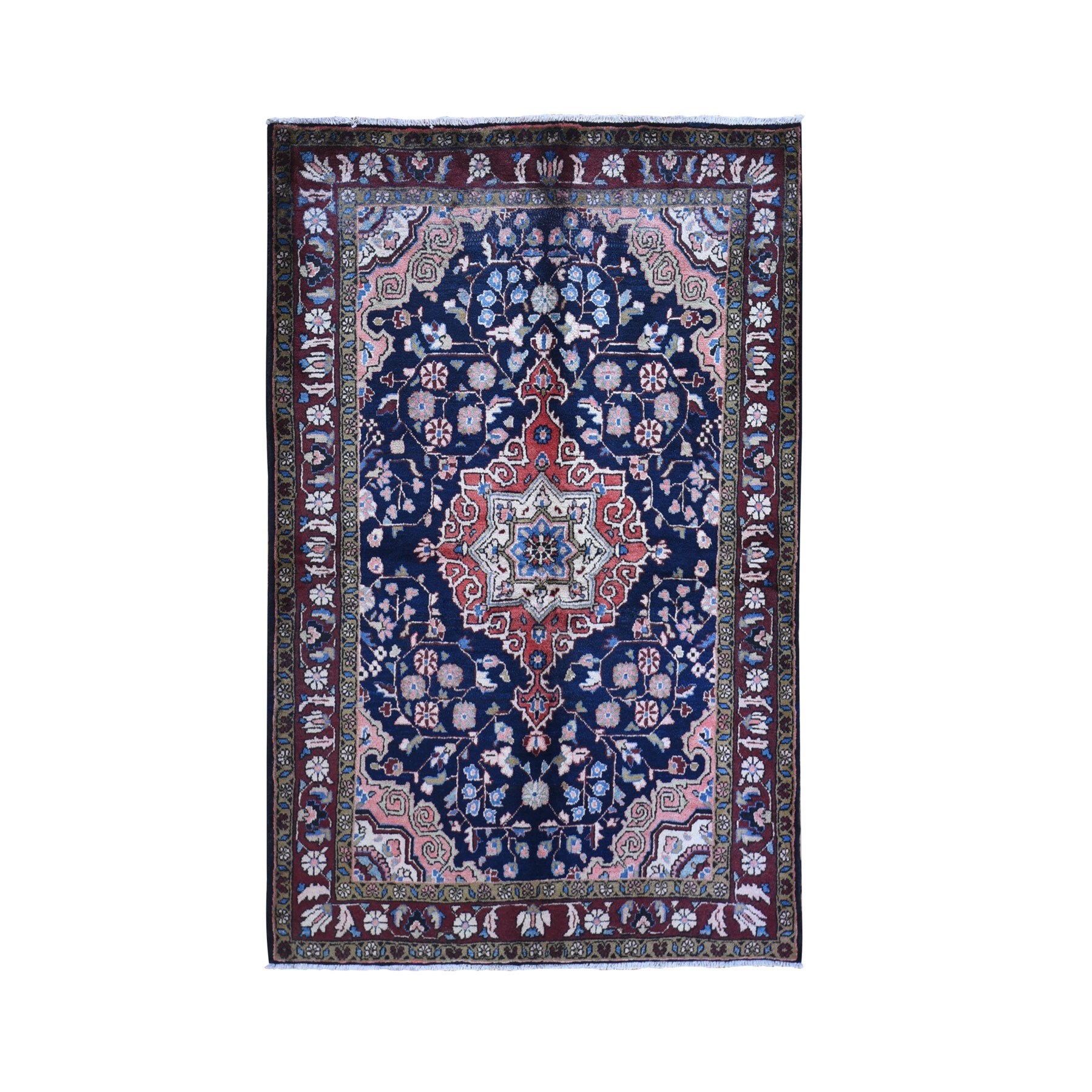 "4'10""x7'7"" Vintage Persian Hamadan Navy Blue Center Medallion Natural Wool Hand Knotted Oriental Rug"