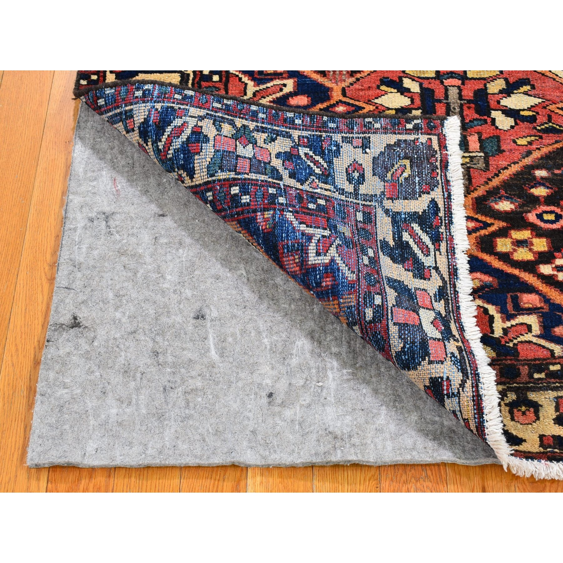 "5'x6'9"" Red Vintage Persian Bakhtiar with Garden Design Worn Down Hand Knotted Oriental Rug"