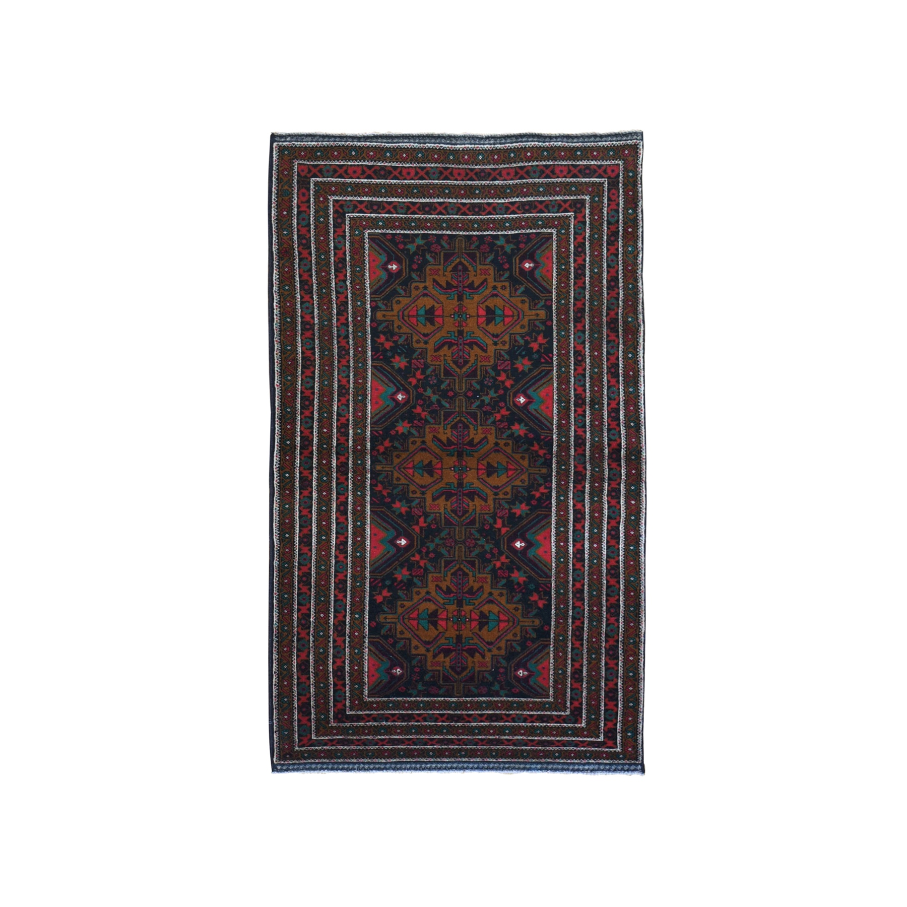 "3'7""x6'5"" Charcoal Black Vintage Persian Baluch Excellent Condition Organic Wool Hand Knotted Oriental Rug"