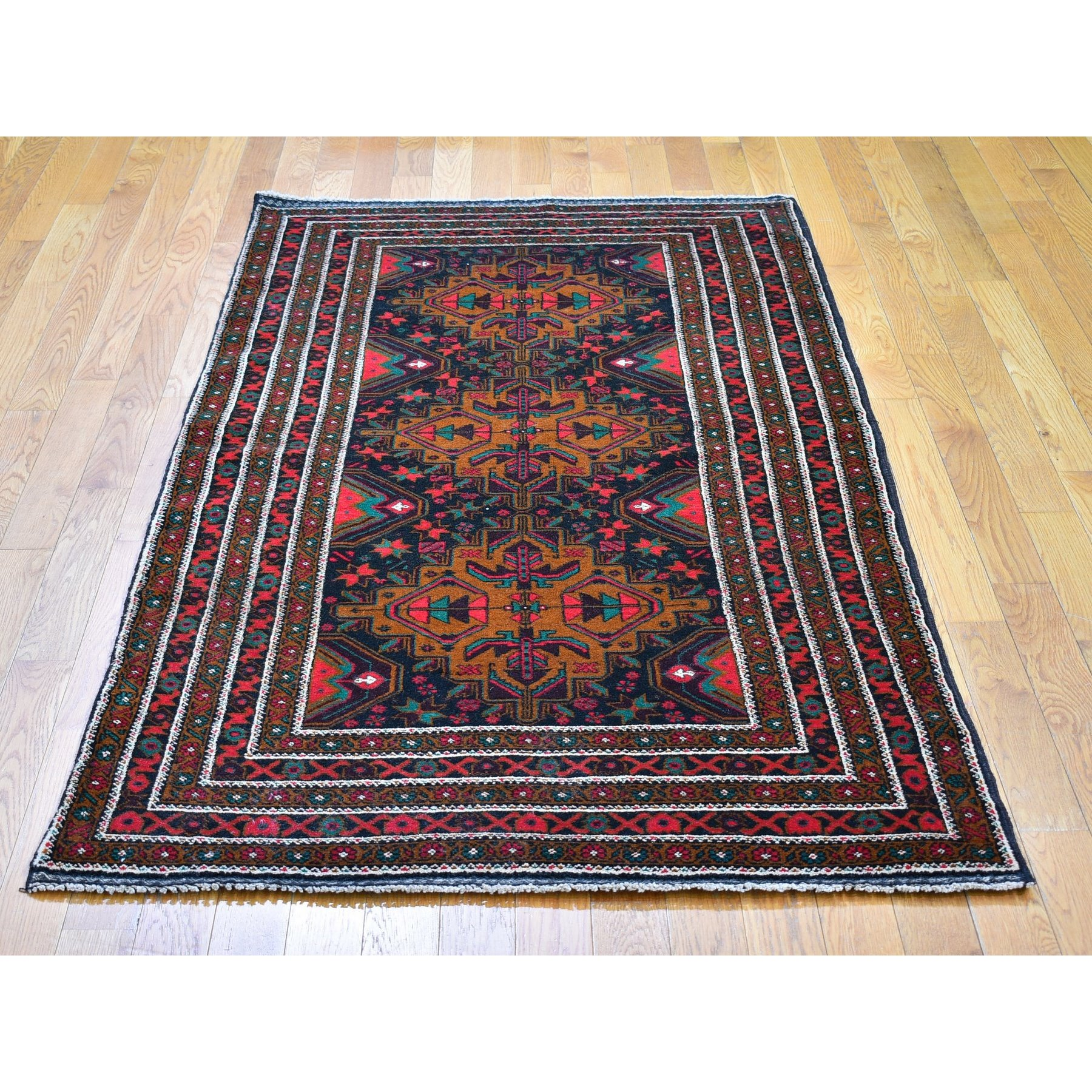 """3'7""""x6'5"""" Charcoal Black Vintage Persian Baluch Excellent Condition Organic Wool Hand Knotted Oriental Rug"""