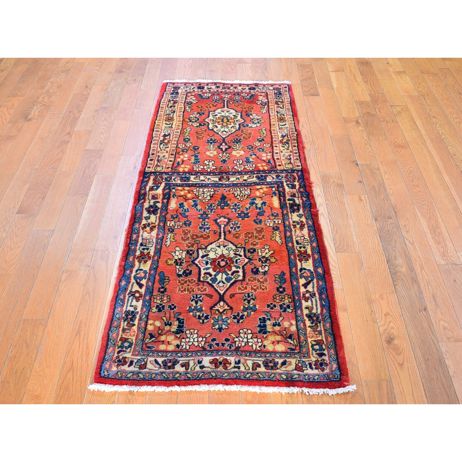 """2'4""""x6'9"""" Vintage Persian Mahal Rug on Rug Design Peach Pure Wool Hand Knotted Wide Runner Oriental Rug"""