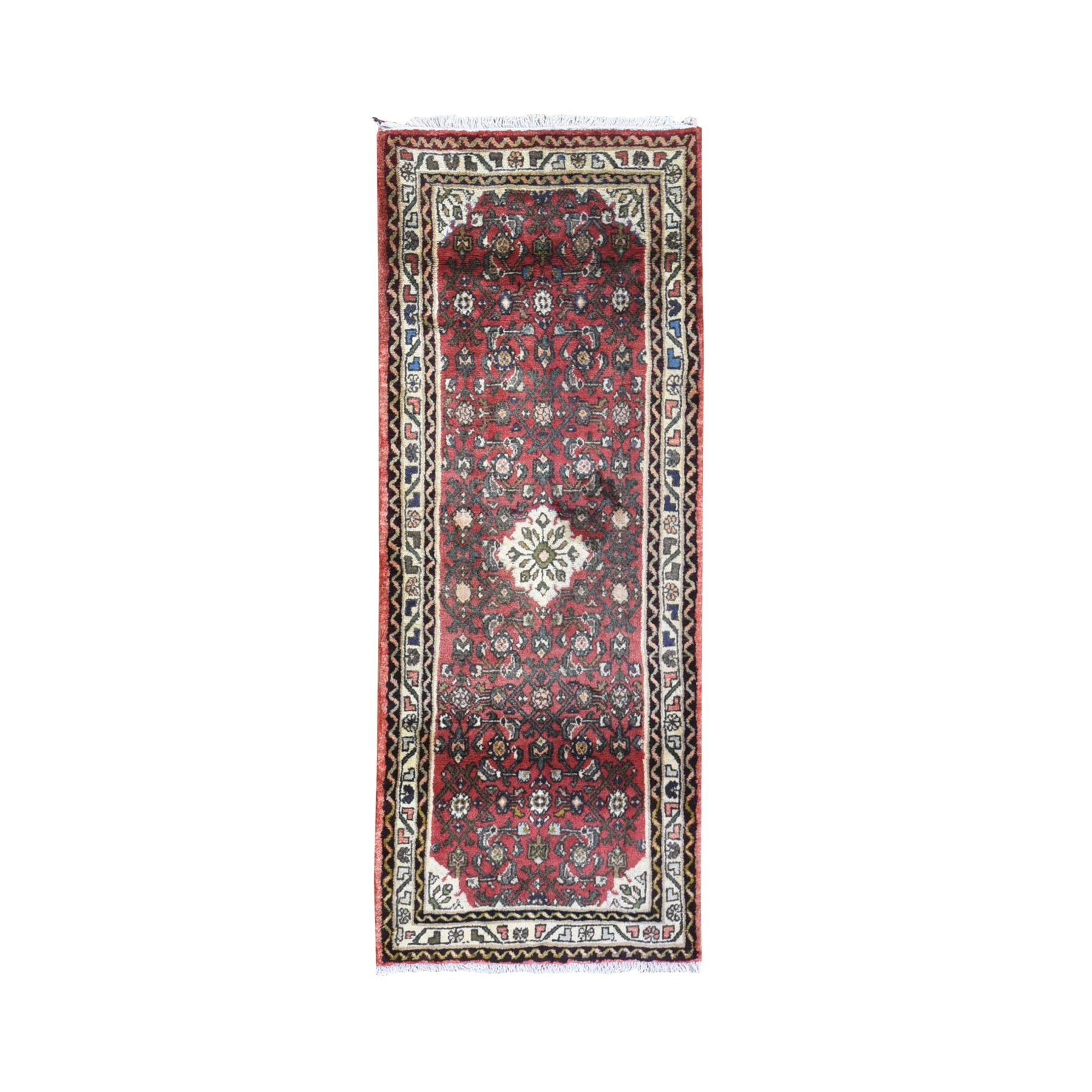 "2'8""x6'9"" Red Vintage Persian Hamadan Fish Design Short Runner Hand Knotted Organic Wool Oriental Rug"