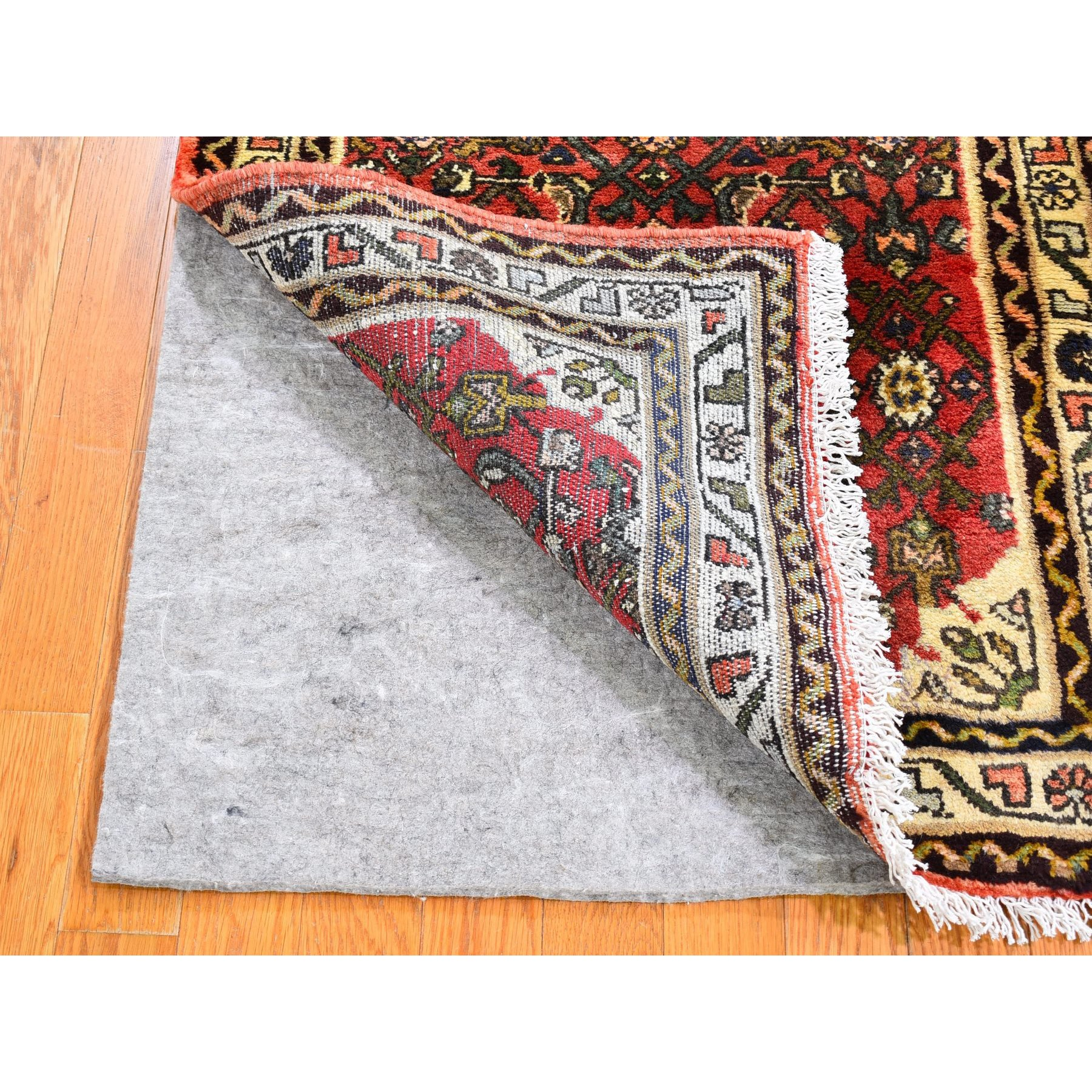 "2'8""x6'9"" Red Vintage Persian Hamadan Fish Design Short Runner Hand Knotted Organic Wool Oriental Rug"