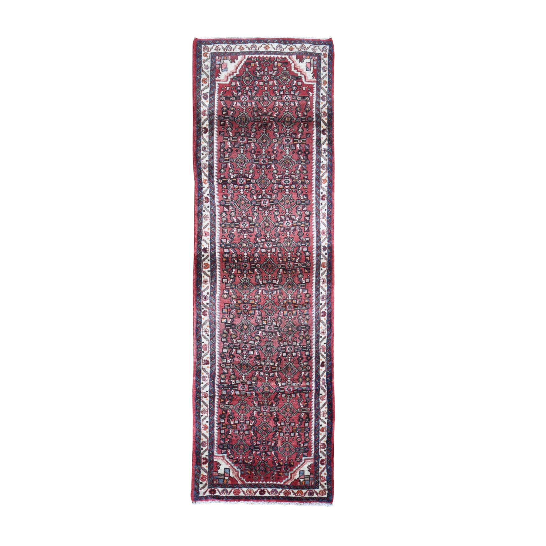 "3'x9'9"" Pure Wool Vintage Persian Hamadan Wide Runner Fish Herat All Over Design Red Hand Knotted Oriental Rug"