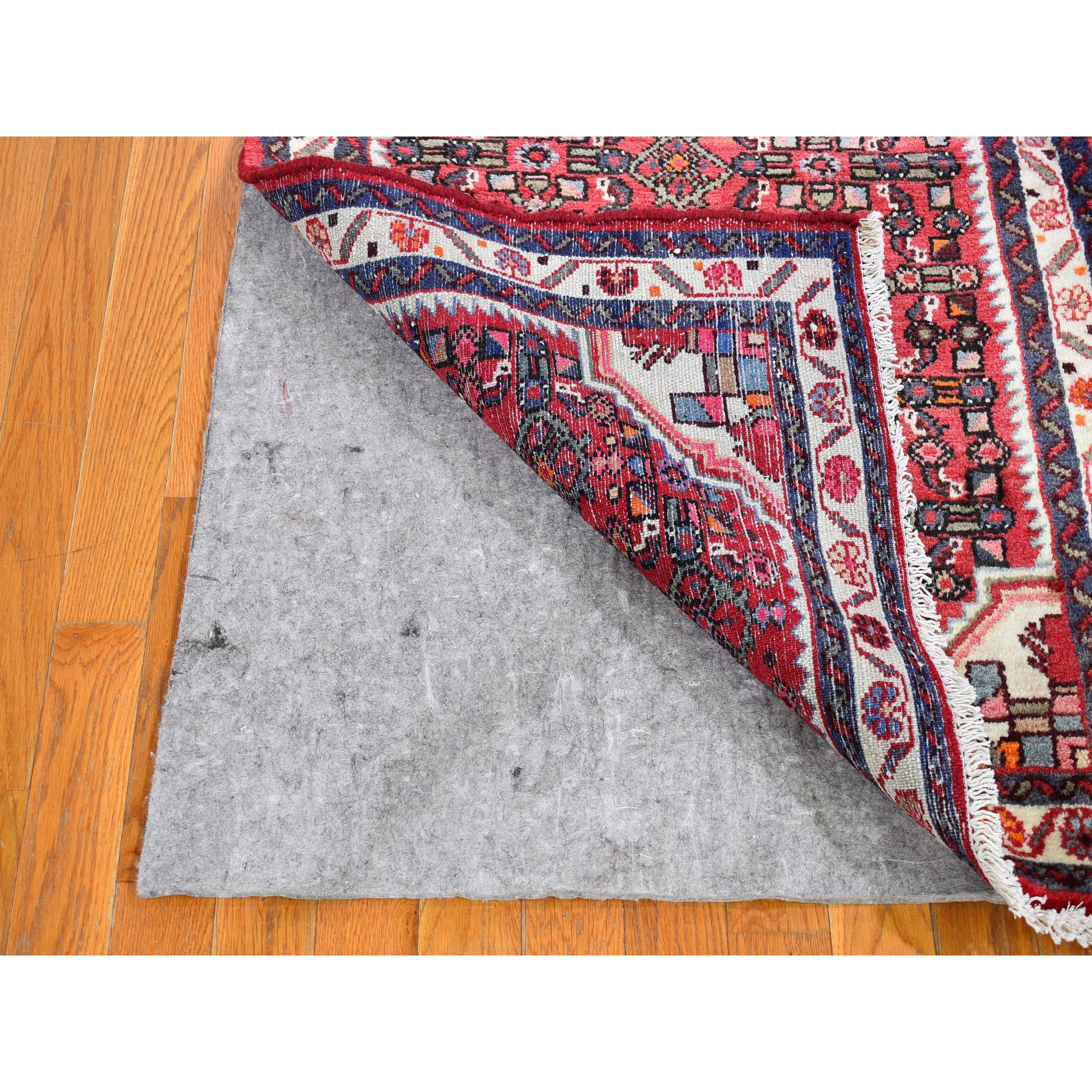 """3'x9'9"""" Pure Wool Vintage Persian Hamadan Wide Runner Fish Herat All Over Design Red Hand Knotted Oriental Rug"""