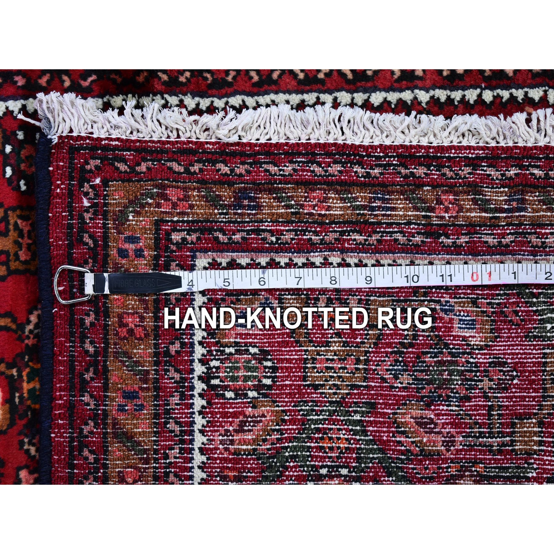 "2'5""x10'1"" Vintage Persian Hamadan Fish Herat All Over Design Pure Wool Hand Knotted Runner Oriental Rug"