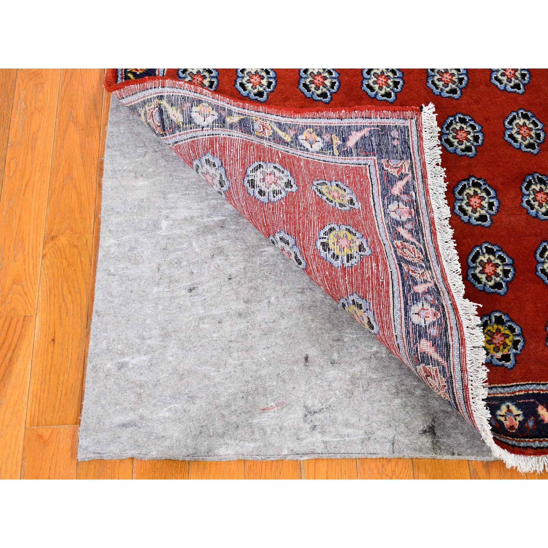 "3'6""x12'2"" Vintage Persian Mahal with Repetitive Rosette Design Wide Runner Pure Wool Hand Knotted Oriental Rug"