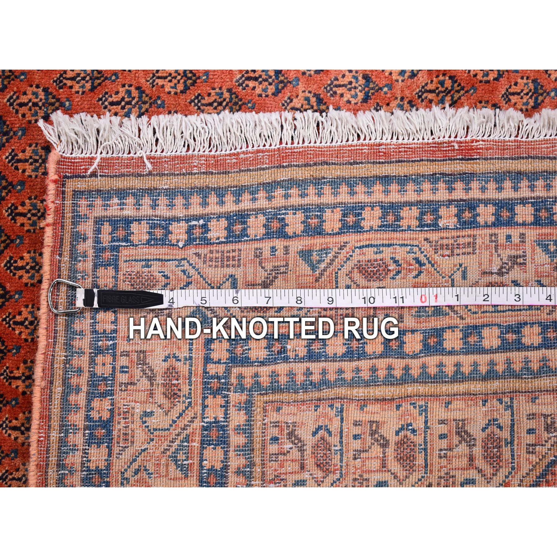 "4'6""x7'3"" Vintage Persian Sarouk Mir with Small Boteh All Over Design Pure Wool Hand Knotted Oriental Rug"