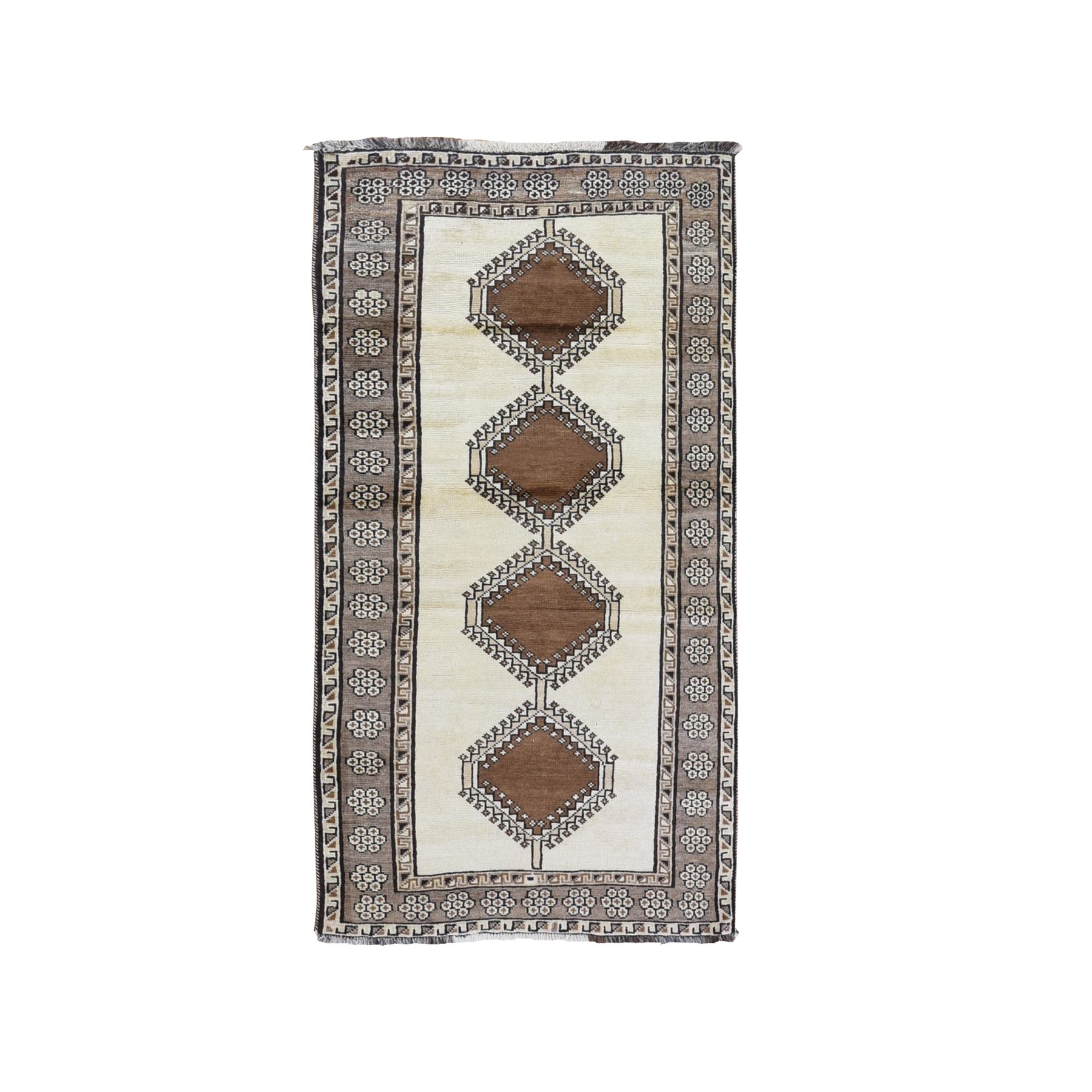 "3'3""x6'4"" Vintage Persian Gabbeh with Serrated Medallions Natural Wool Color Shades Hand Knotted Oriental Rug"
