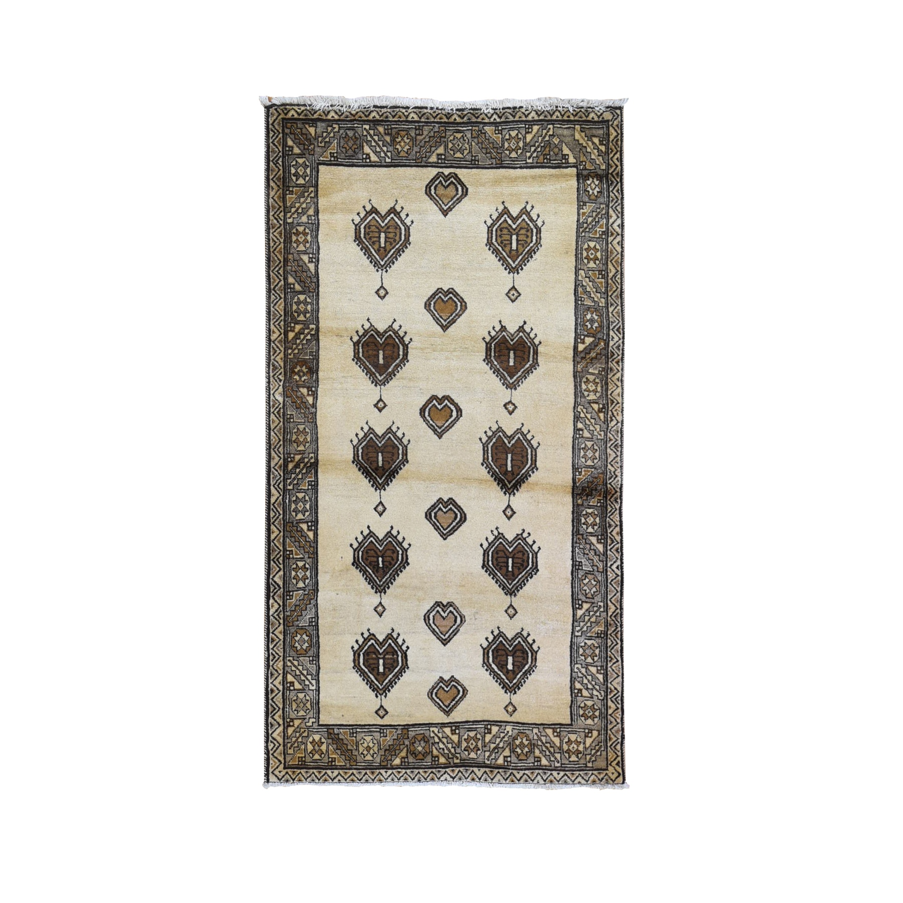 "3'8""x7' Vintage Persian Gabbeh, Abrash Natural Wool Color Shades with Heart Figurines Hand Knotted Oriental Rug"