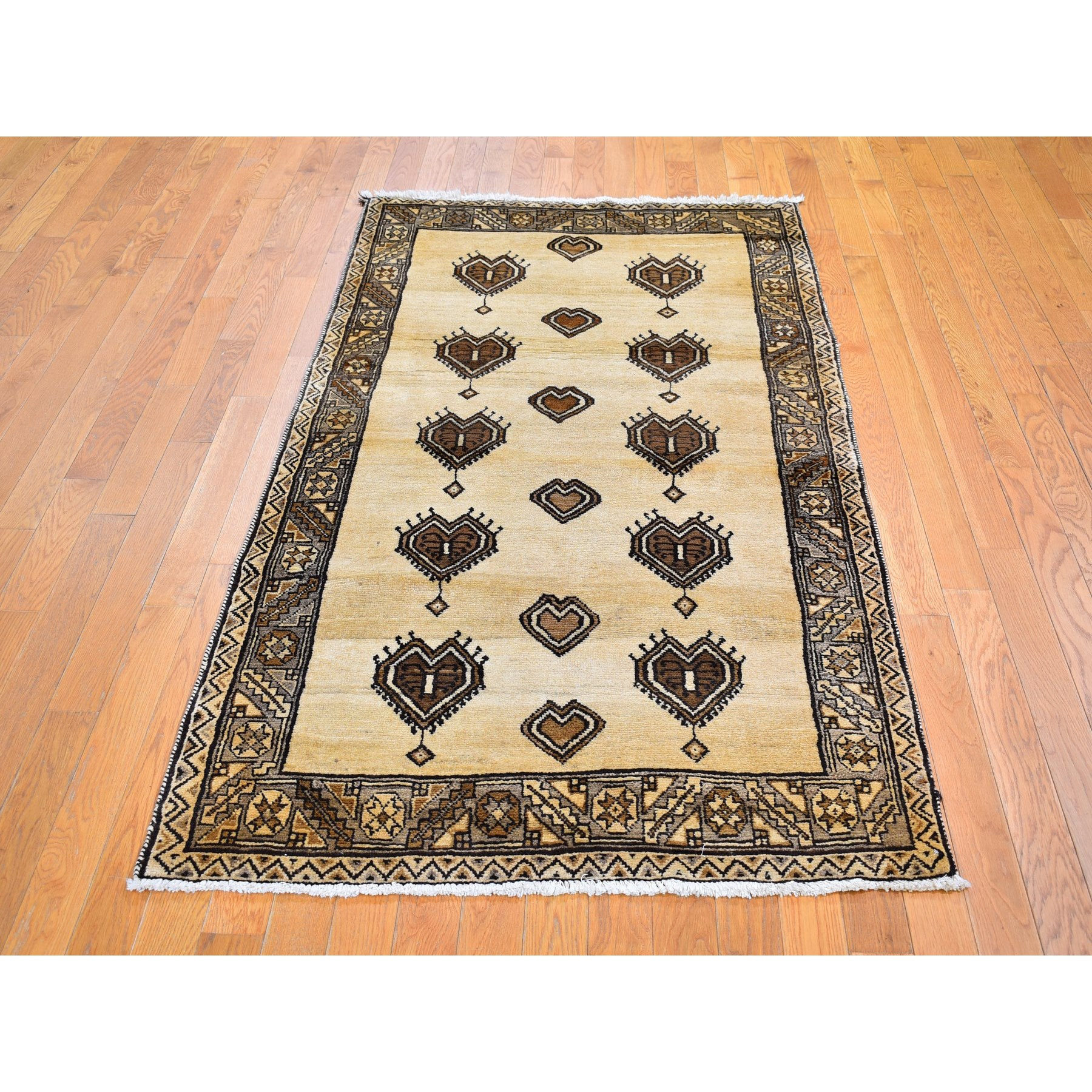 """3'8""""x7' Vintage Persian Gabbeh, Abrash Natural Wool Color Shades with Heart Figurines Hand Knotted Oriental Rug"""