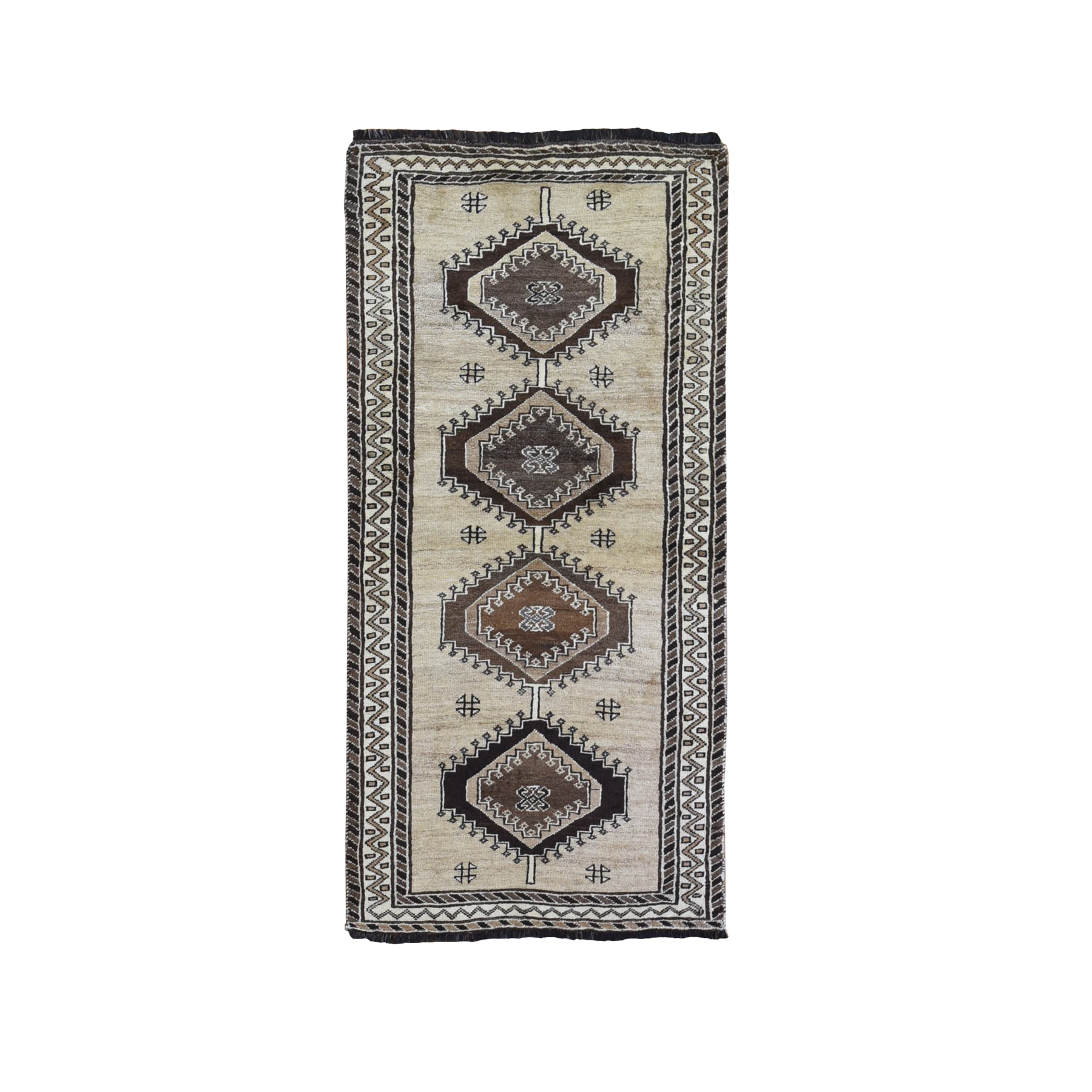 "3'1""x6'6"" Vintage Persian Gabbeh with Natural Wool Color Shades Serrated Medallions Hand Knotted Oriental Rug"