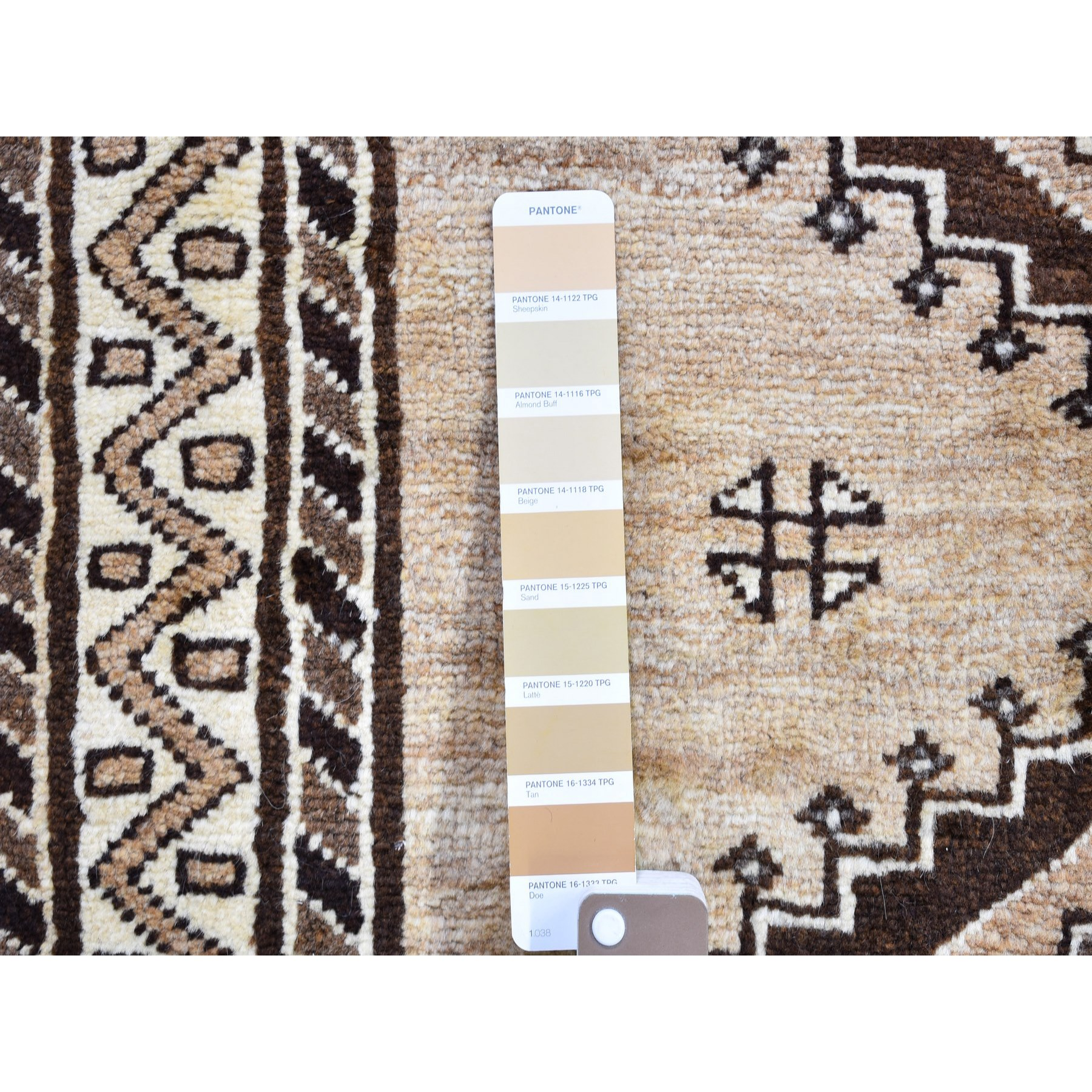 """3'1""""x6'6"""" Vintage Persian Gabbeh with Natural Wool Color Shades Serrated Medallions Hand Knotted Oriental Rug"""