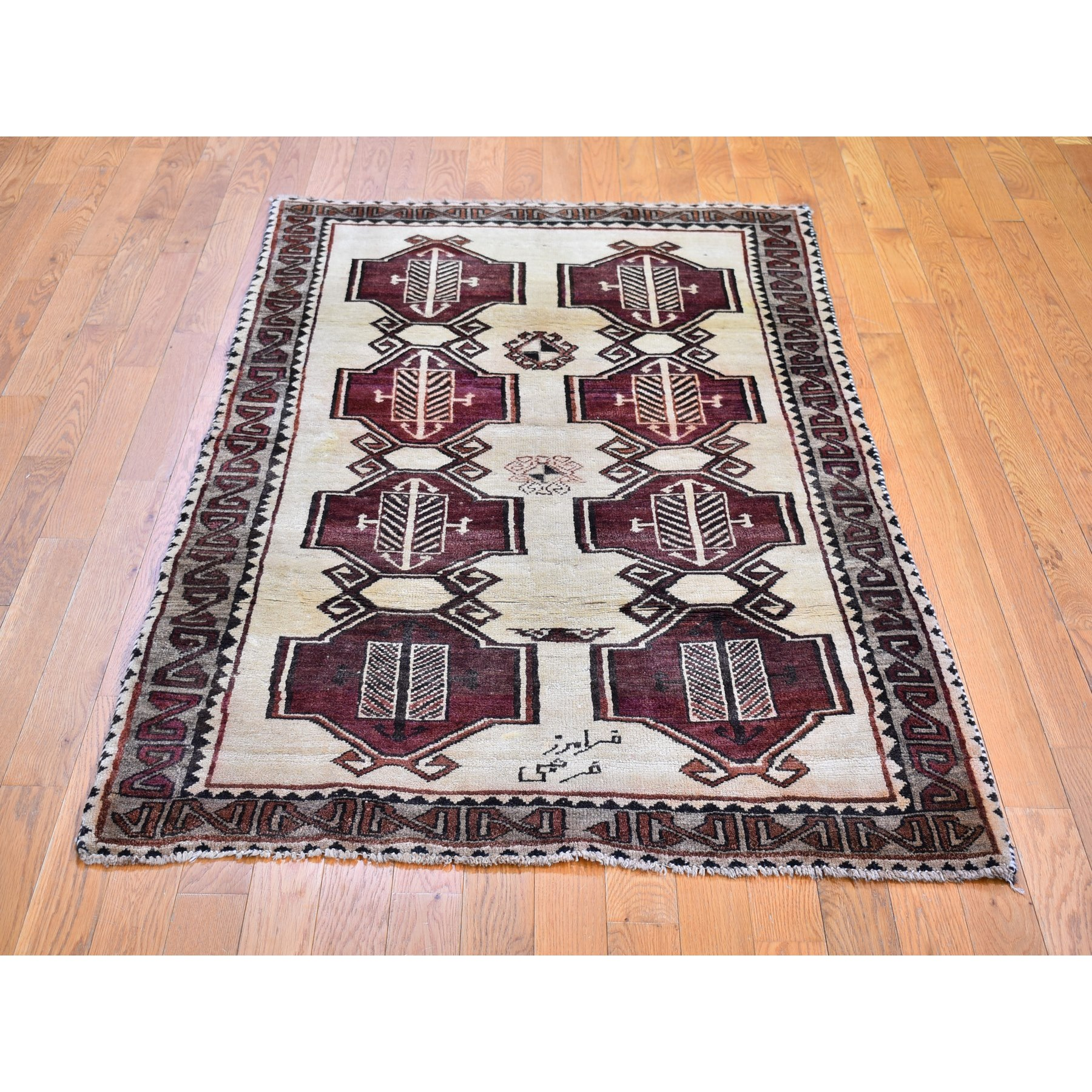 """3'7""""x6' Vintage Persian Gabbeh Signed with Geometric Medallions Pure Wool Hand Knotted Oriental Rug"""