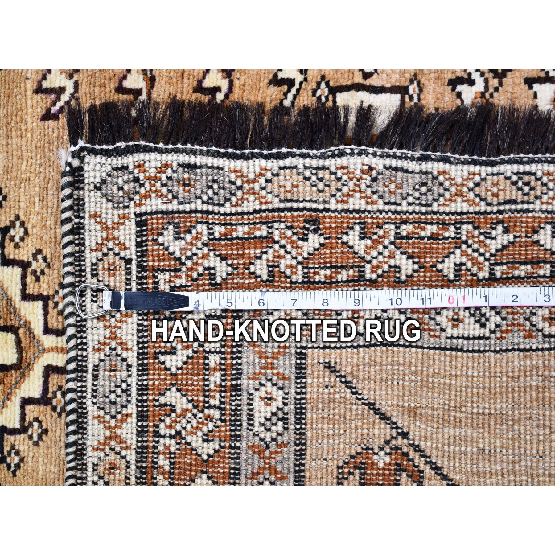 """3'4""""x6'8"""" Vintage Persian Gabbeh with Natural Wool Color Shades Serrated Medallions Hand Knotted Oriental Rug"""